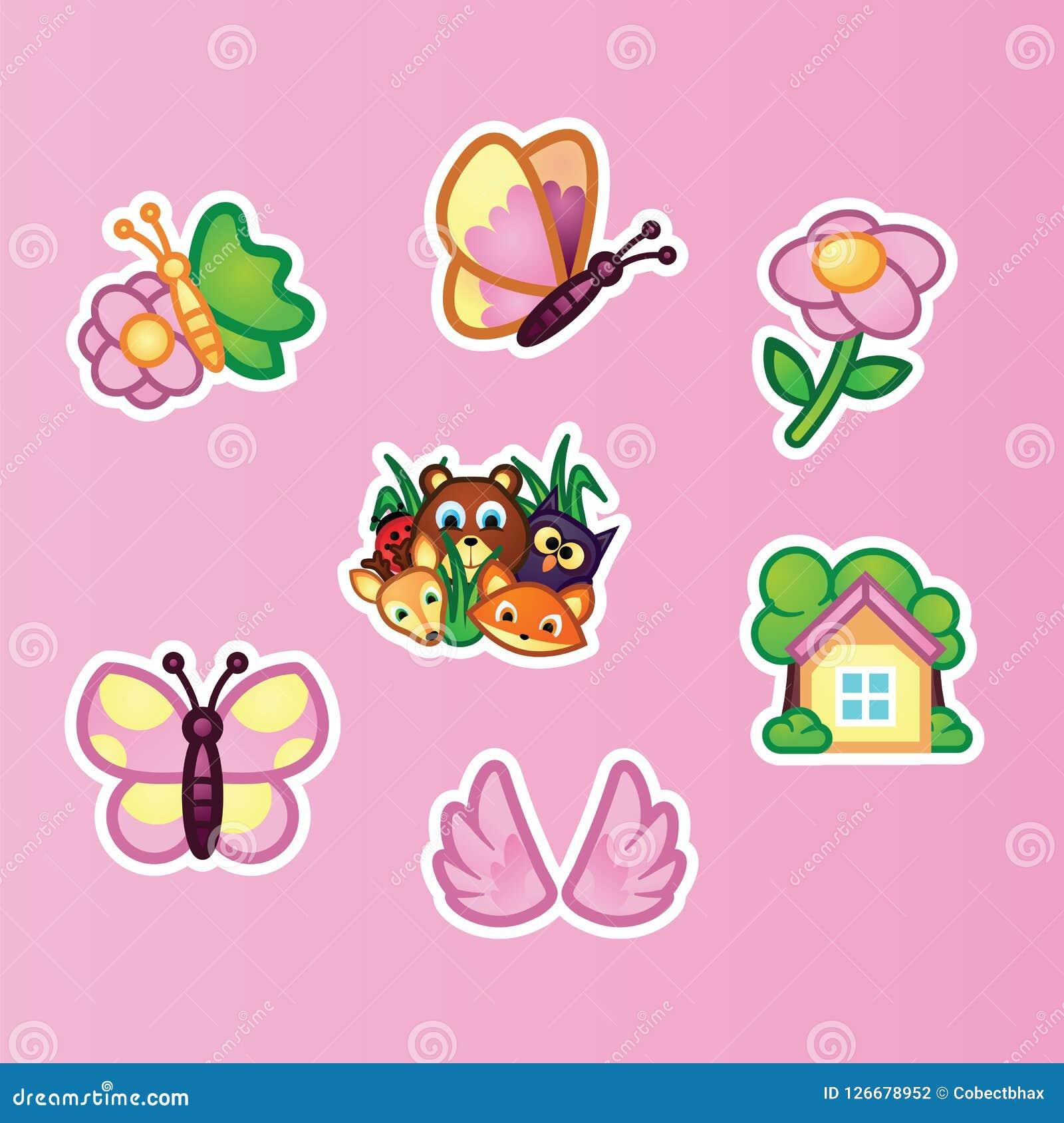Plana klistermärkear för uppsättning härlig fjäril, vildblommor, lösa skogdjur och sommarställe på rosa bakgrund anhydrous