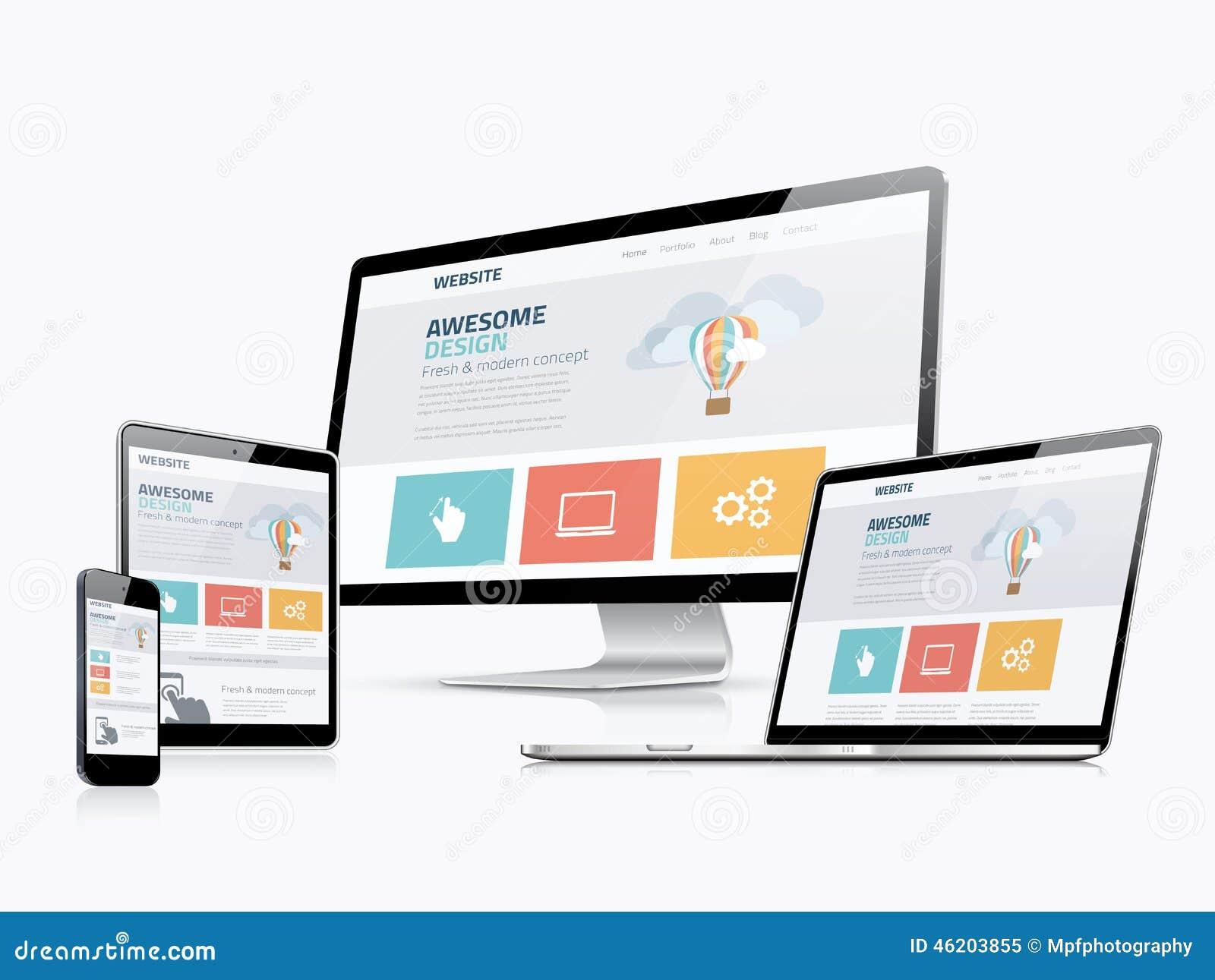 Plana svars- apparater för utveckling för website för rengöringsdukdesignbegrepp