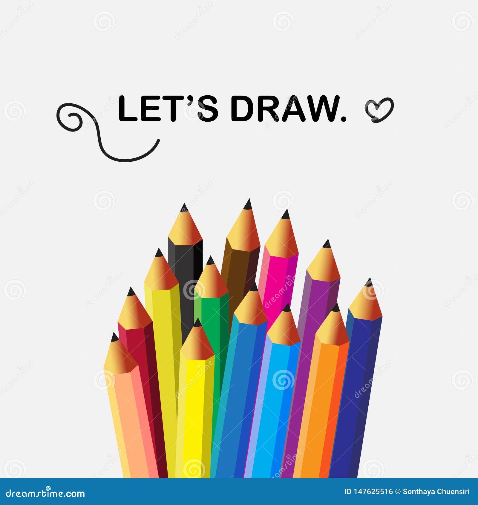 Plana symboler för blyertspennor i isolatbakgrund