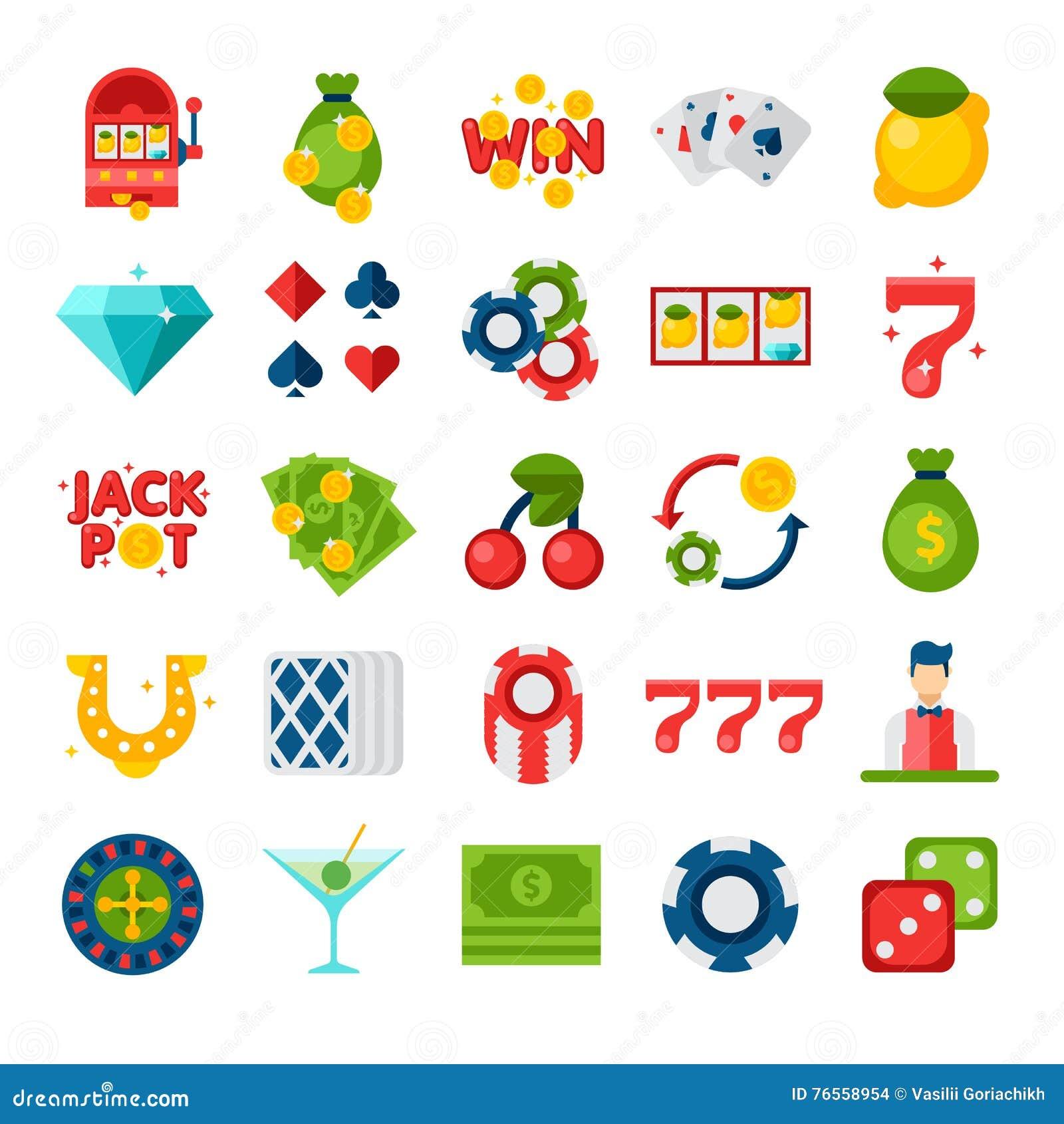 Plana symboler för kasino 25