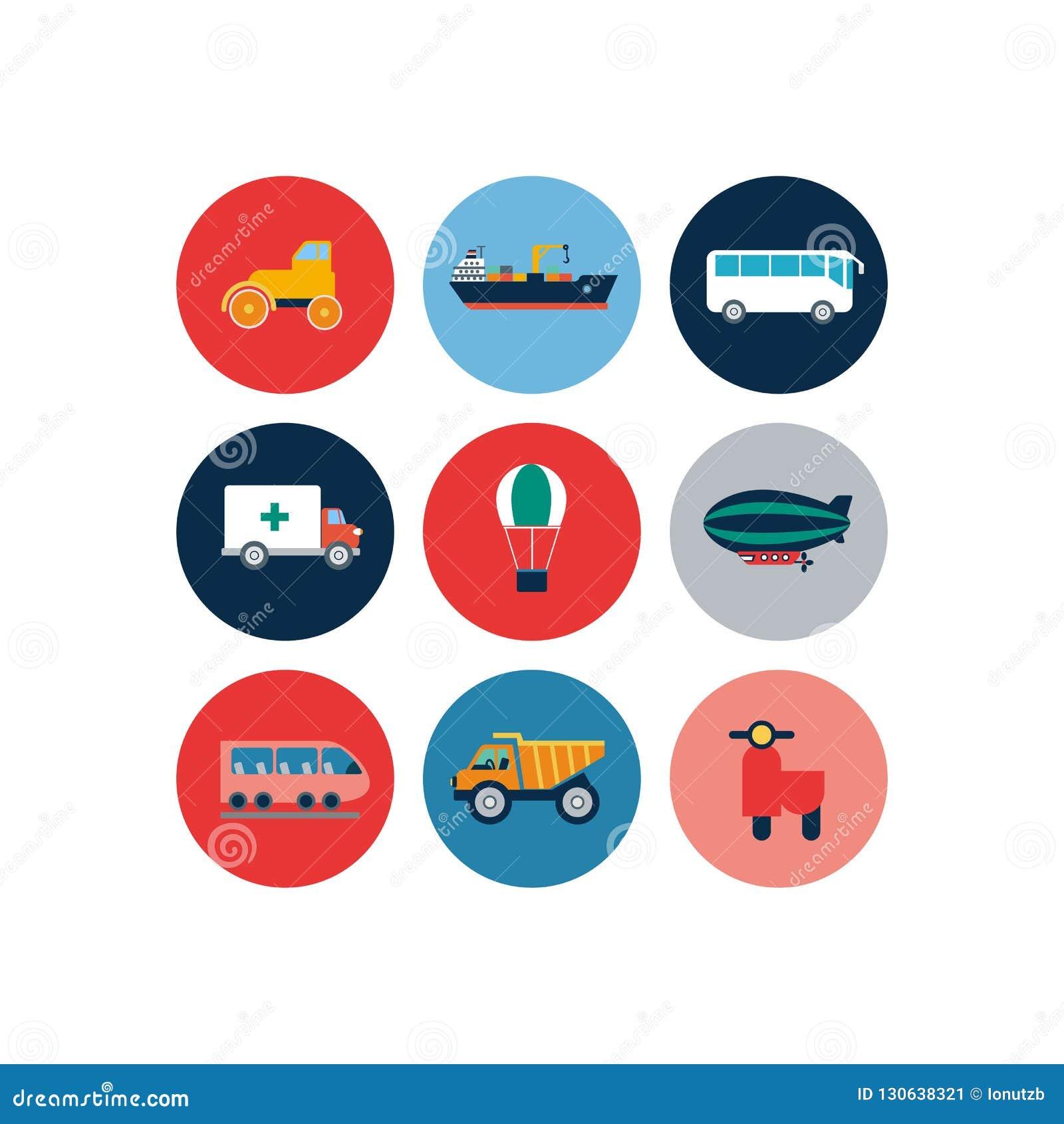 Plana symboler för transport Bilar och plan illustration för kollektivtrafikvektor