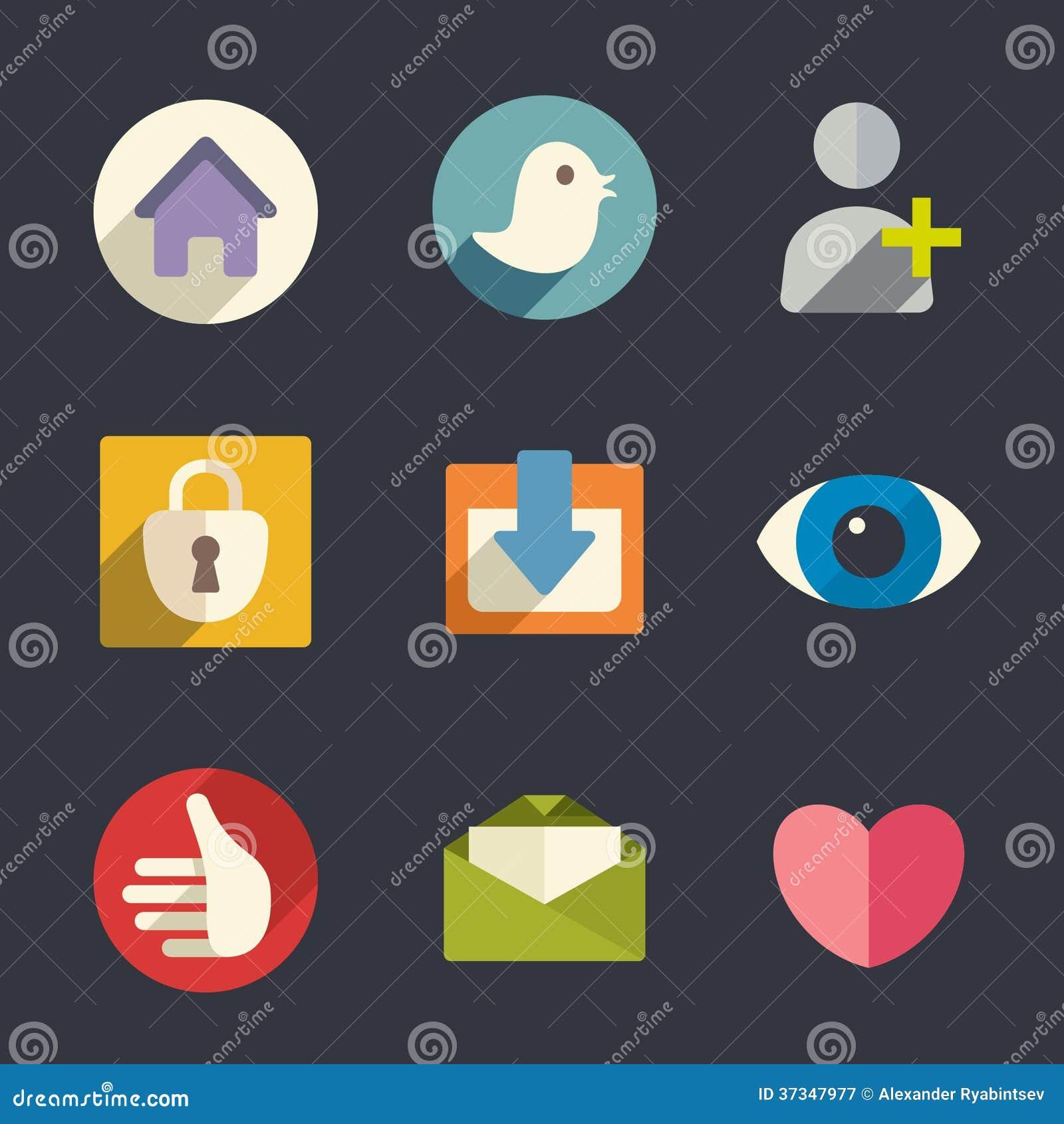 Plana symboler. Sociala medier