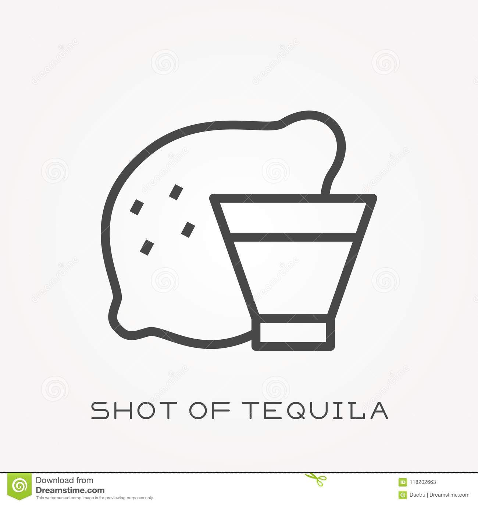 Plana vektorsymboler med skottet av tequilaen