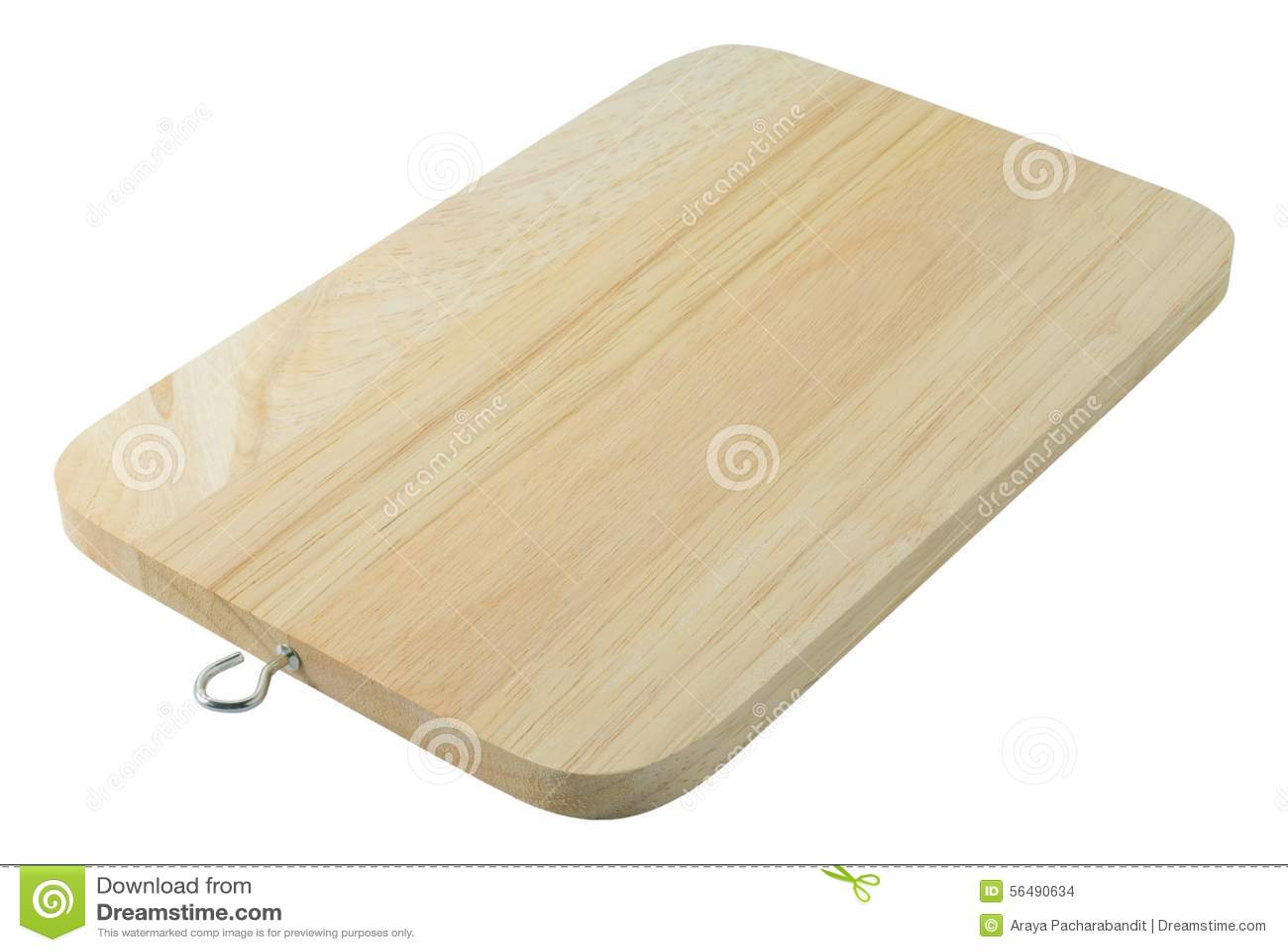 Planche à découper en bois sur un fond blanc