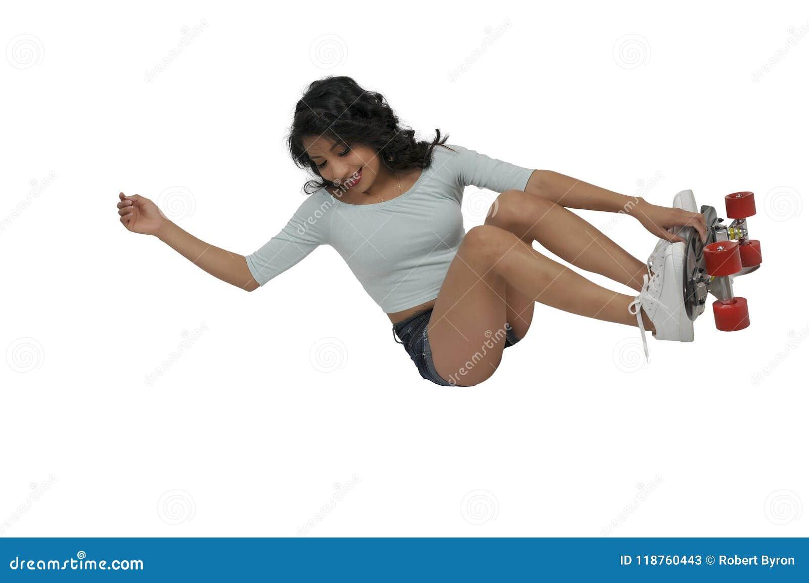 Planche à roulettes d équitation de femme