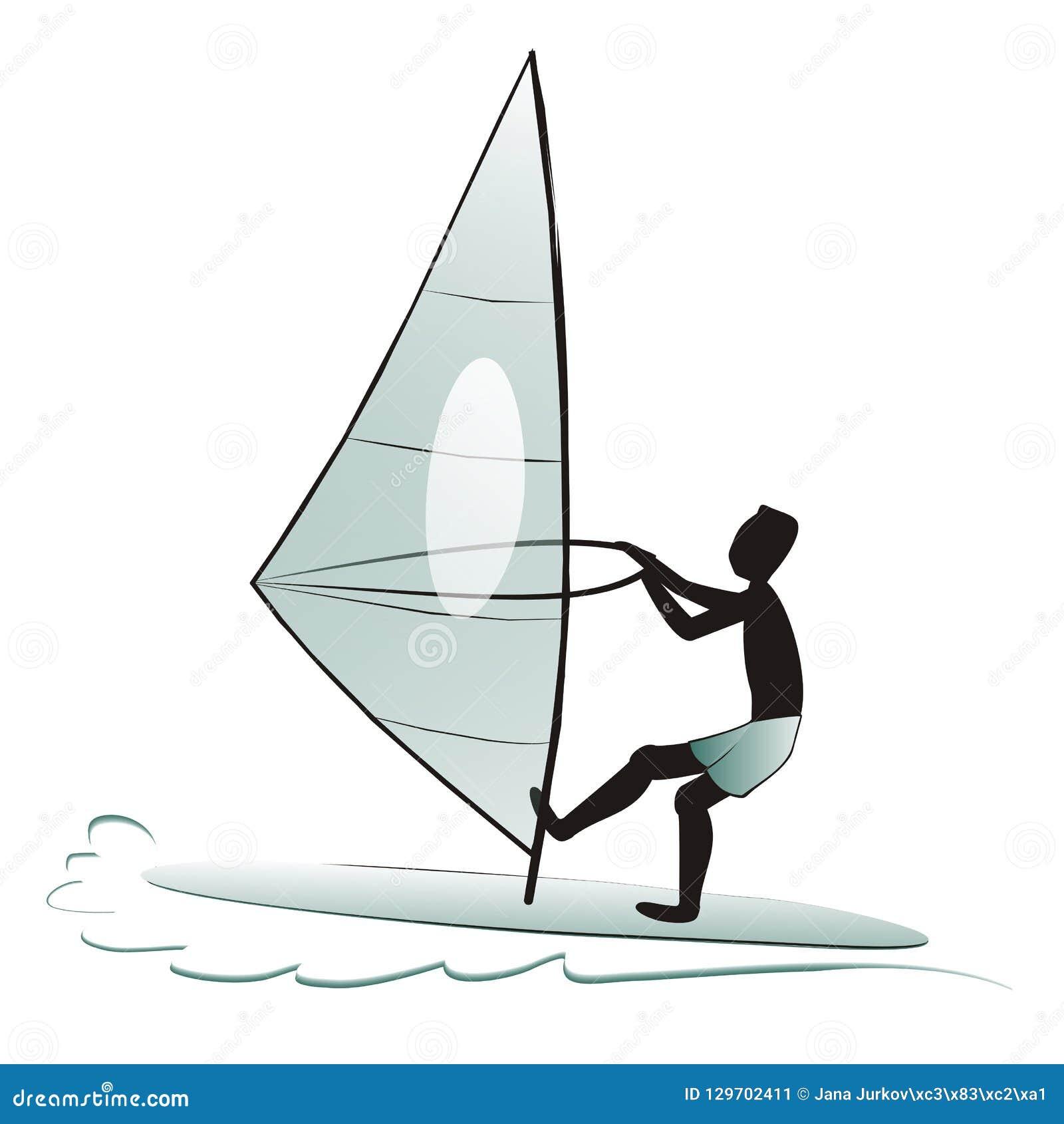 Planche A Voile Silhouette De Surfer Illustration De Vecteur Illustration De Vecteur Illustration Du Planche Voile 129702411