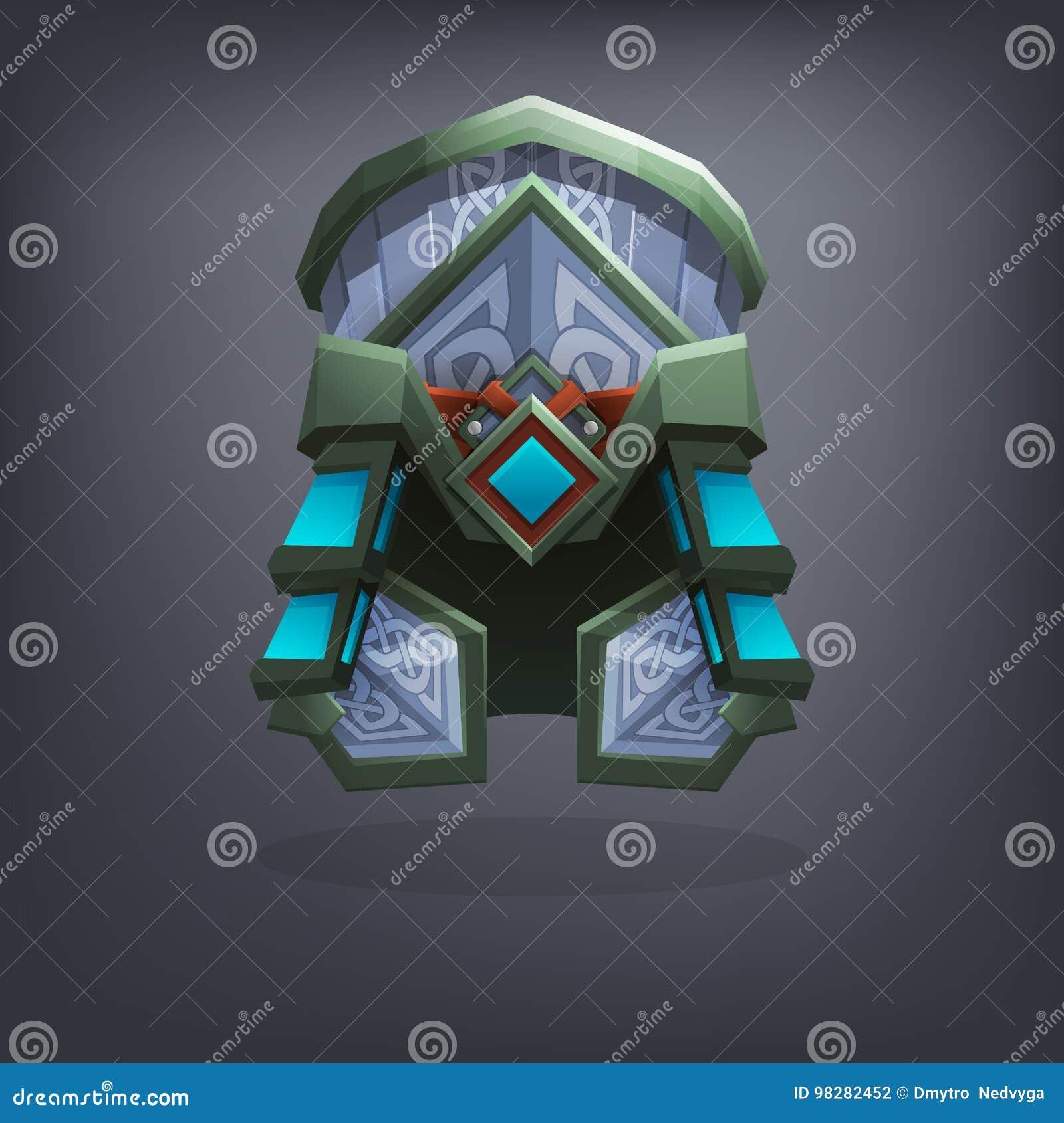 Planche el casco de la armadura de la fantasía para el juego o las tarjetas