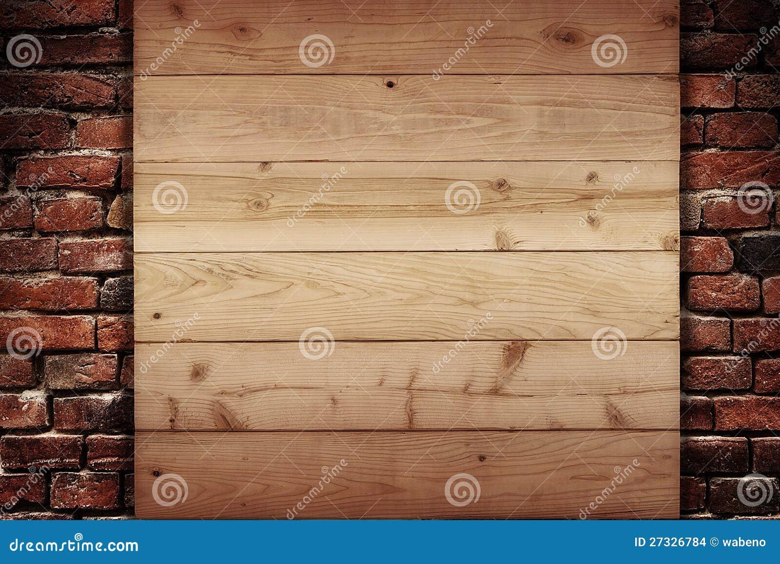 planche en bois sur un mur des briques photo stock image du tage mat riau 27326784. Black Bedroom Furniture Sets. Home Design Ideas