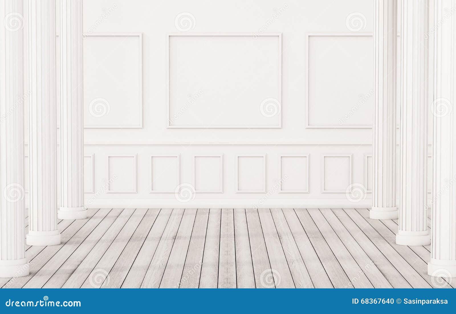 plancher en bois int rieur et blanc classique et mur blanc. Black Bedroom Furniture Sets. Home Design Ideas
