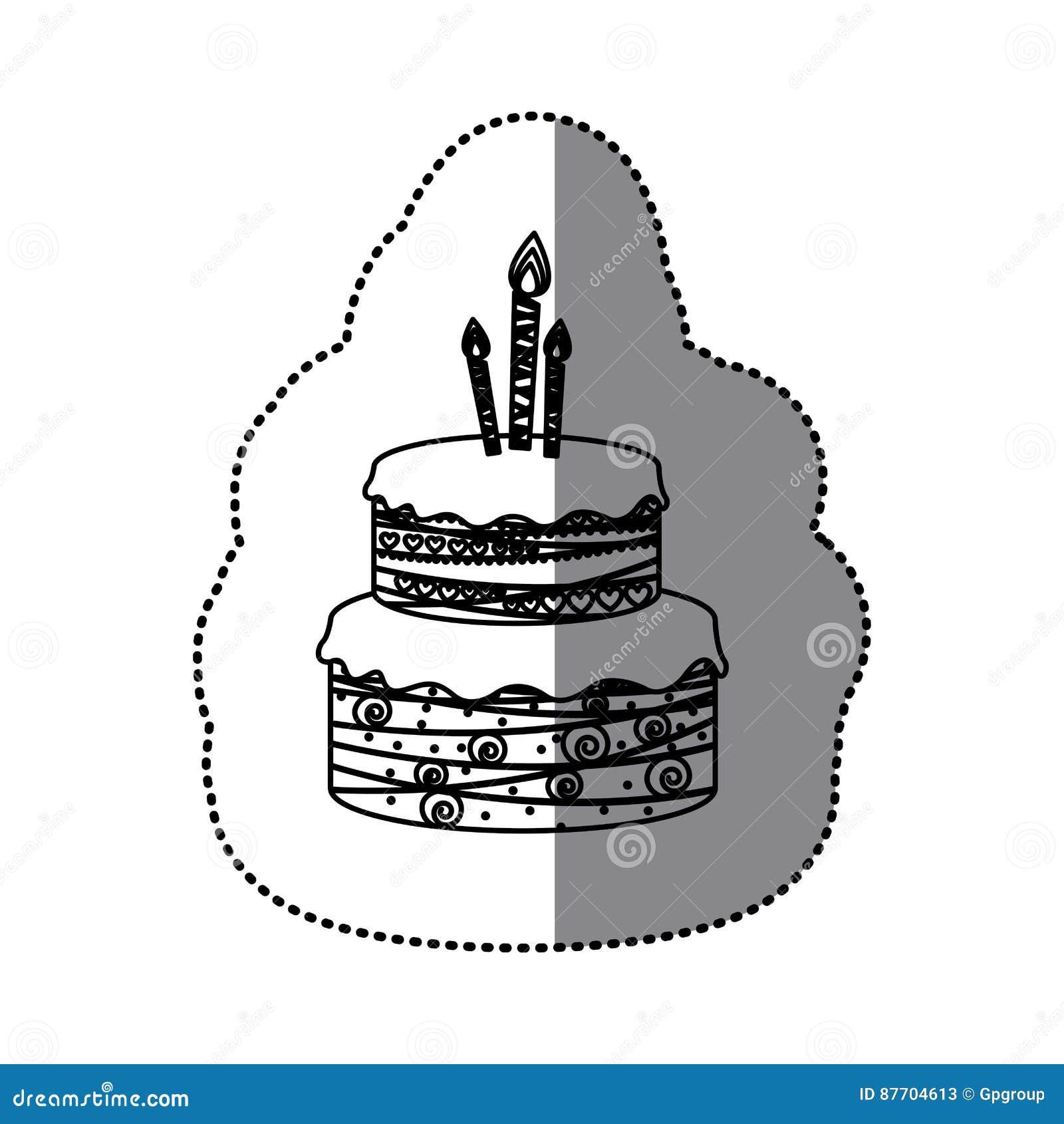 Planchers du gâteau d anniversaire de silhouette d autocollant deux avec des bougies