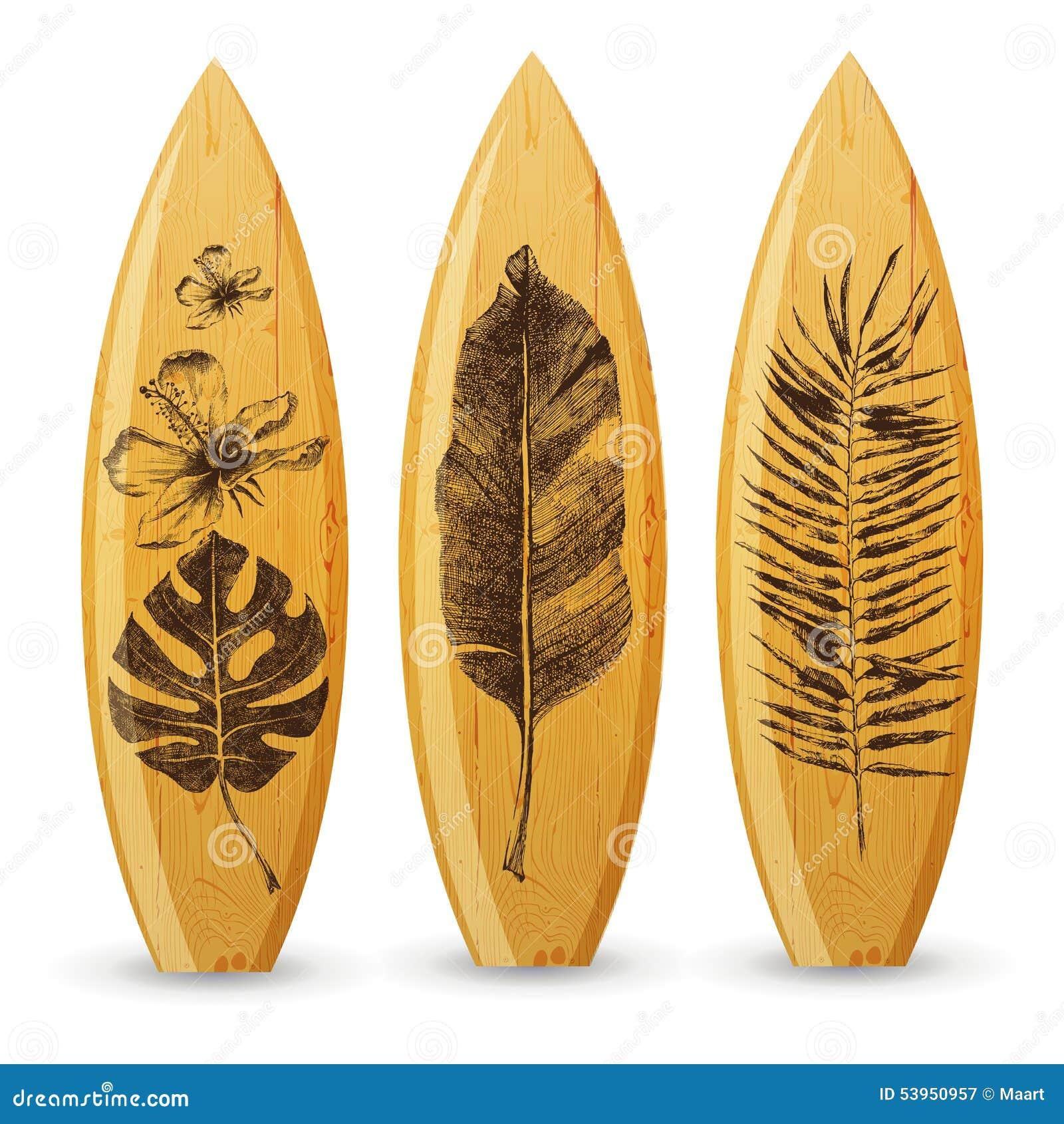 Planches de surf en bois avec les feuilles tropicales - Table planche de surf ...