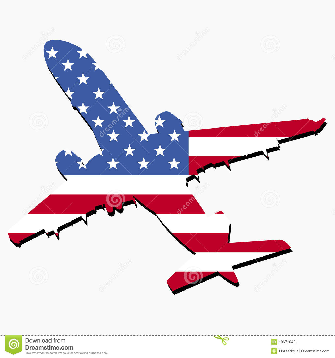 Plane With American Flag Royalty Free Stock Image