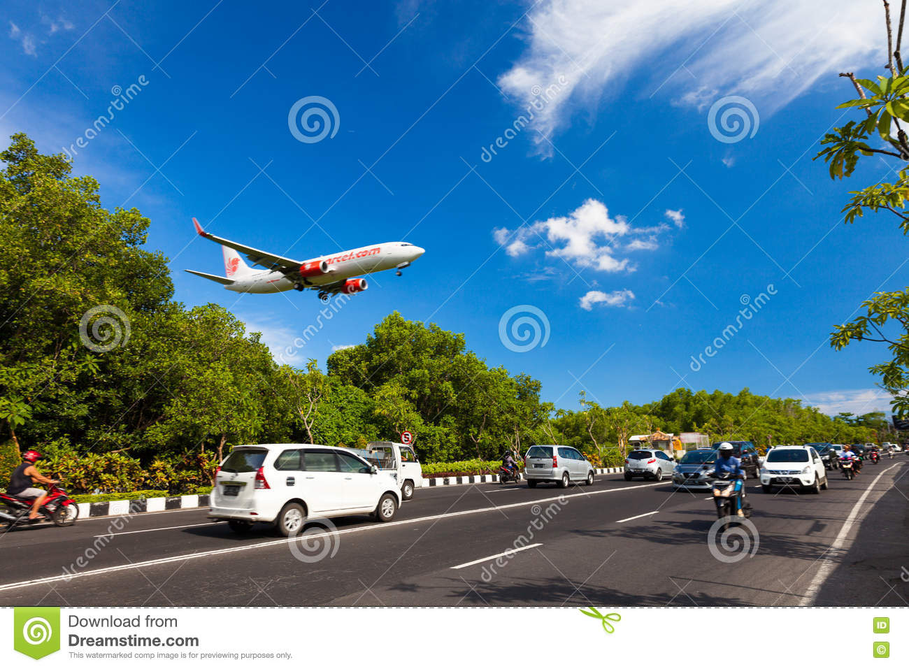 Tropical Island Beach Ambience Sound: Plane Danger Landing Near Road On The Tropical Island Bali