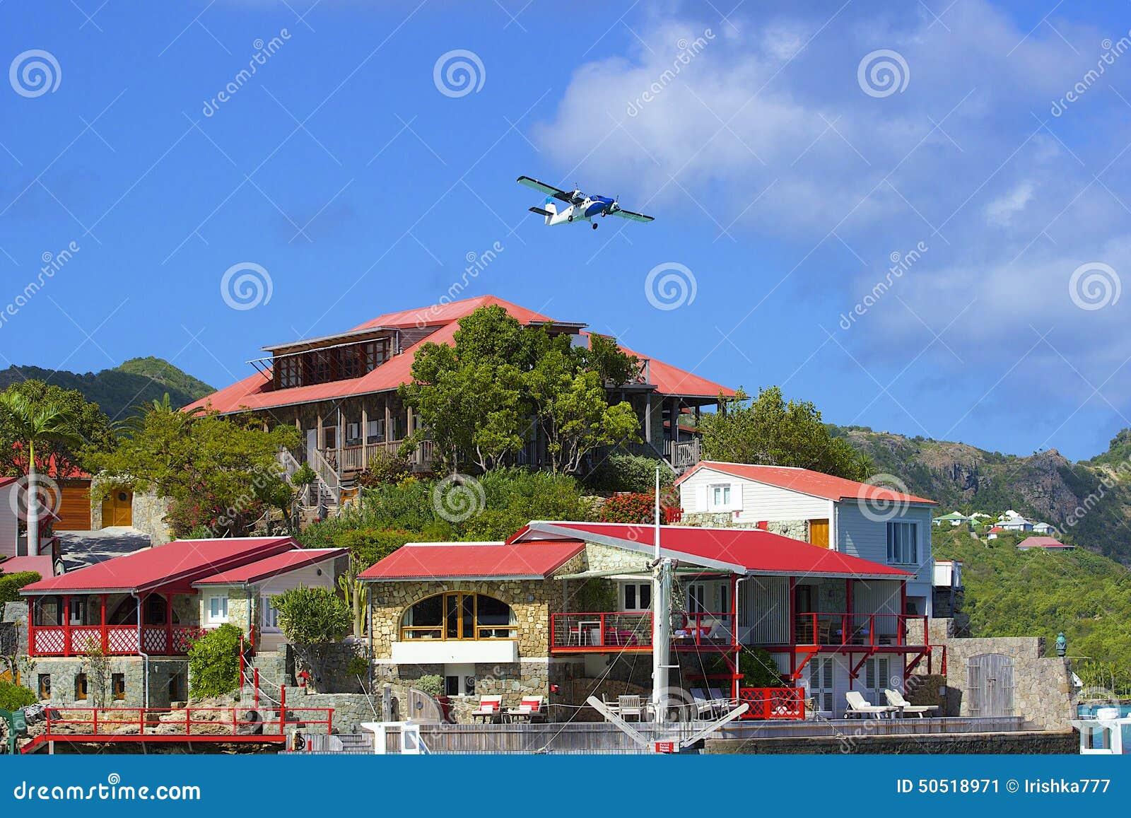 Plane and Eden Rock hotel in St Barths, Caribbean