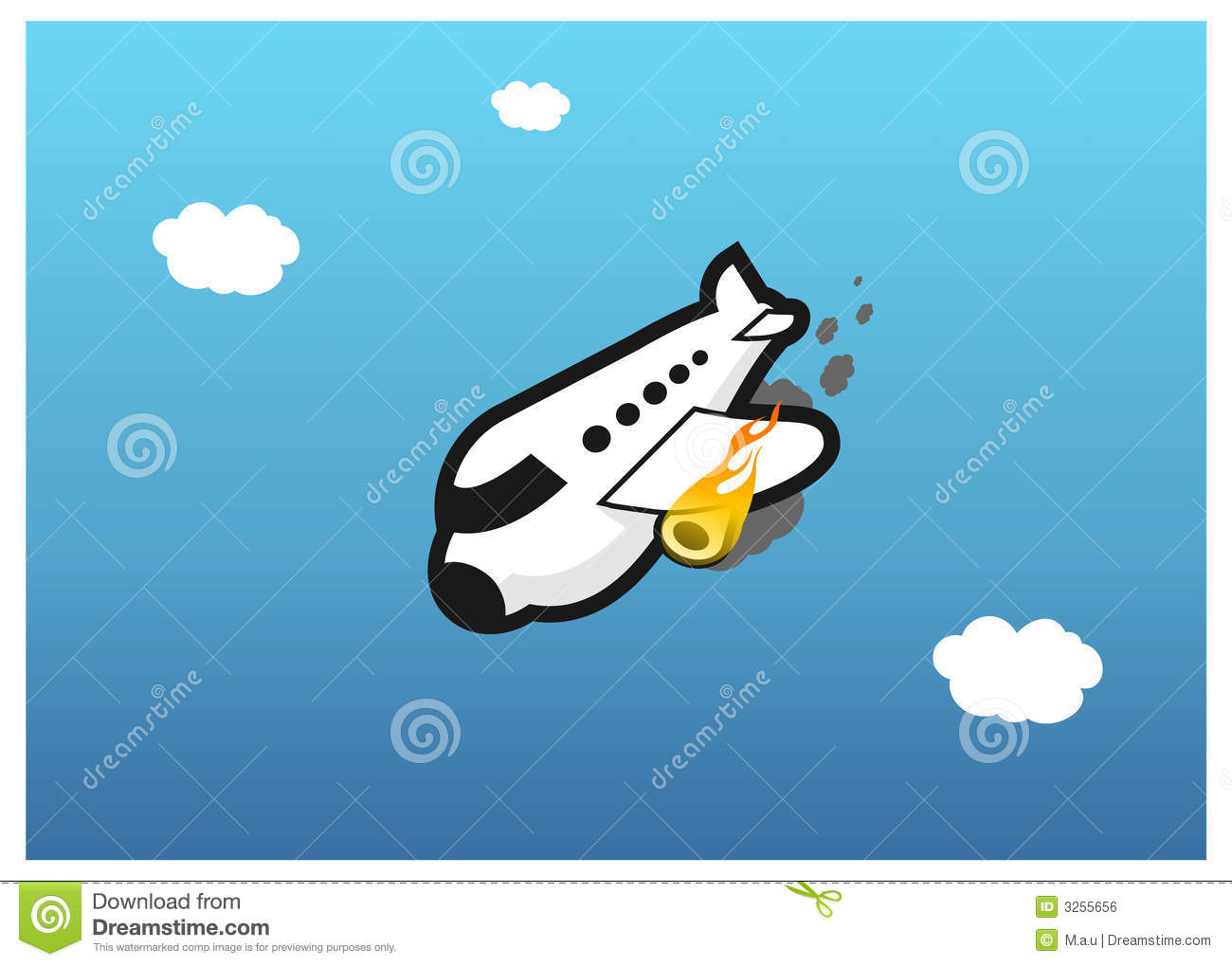 Plane On Fire Royalty Free Stock Image - Image: 3255656