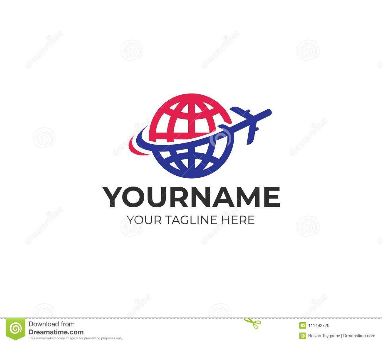Plane flies around the planet earth logo template. Travel and flying plane vector design