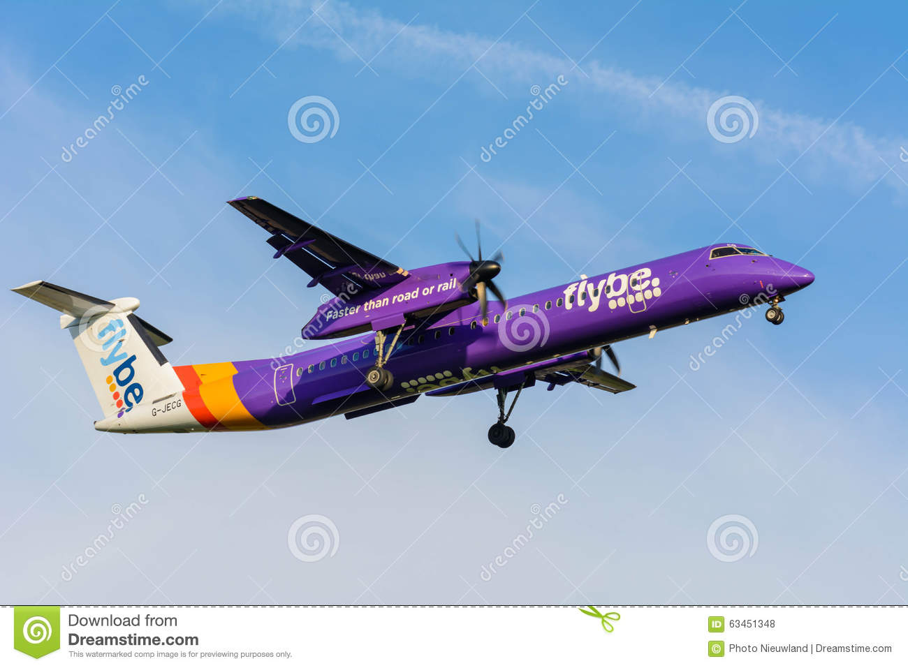 Schiphol, Noord-Holland/Netherlands- October 26-10-2015 -Plane from Flybe  Dash 8 G-JECG is preparing for landing at Schiphol airport.