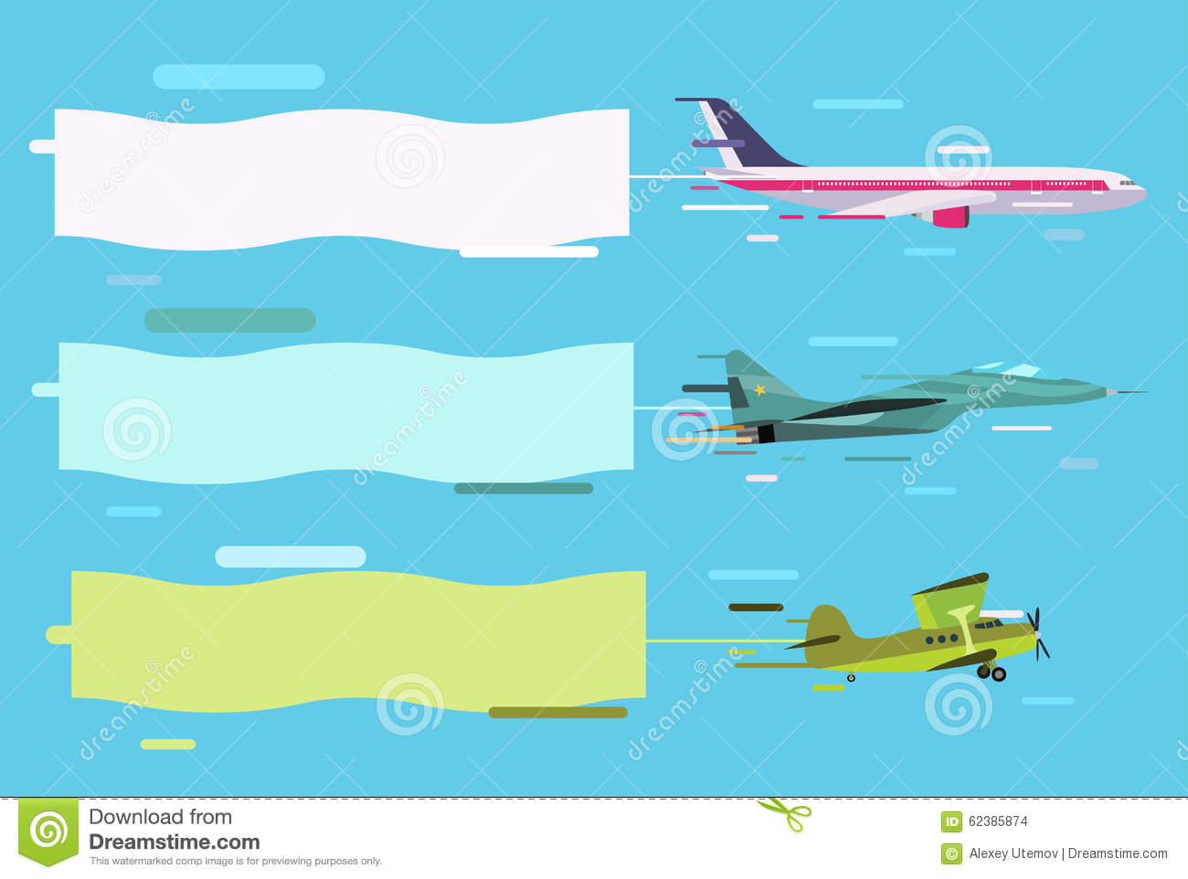 plane flying with advertising banners stock vector  image: 62385874