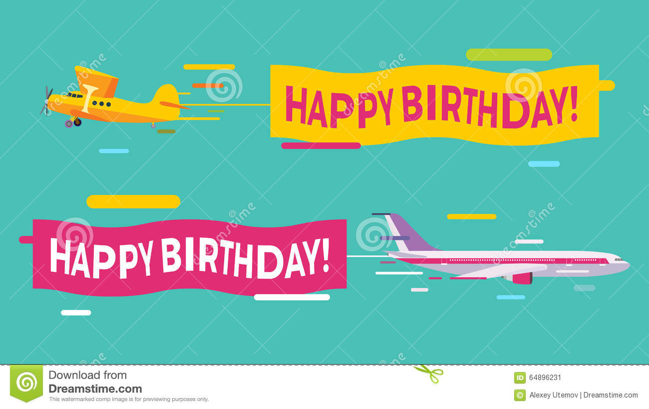 Plane Flying Happy Birthday Banners Planes Greeting Card Vector 64896231
