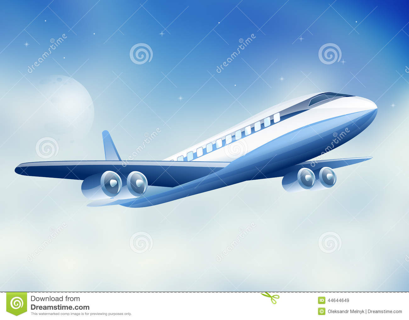 Plane Flying High Above Sky Moon Stock Vector - Image: 44644649