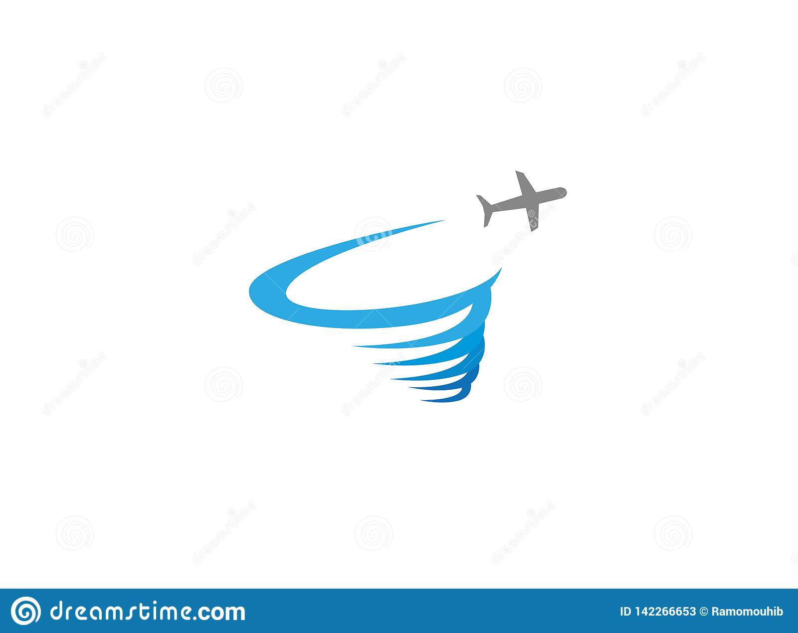 Plane flying and making a round storm logo