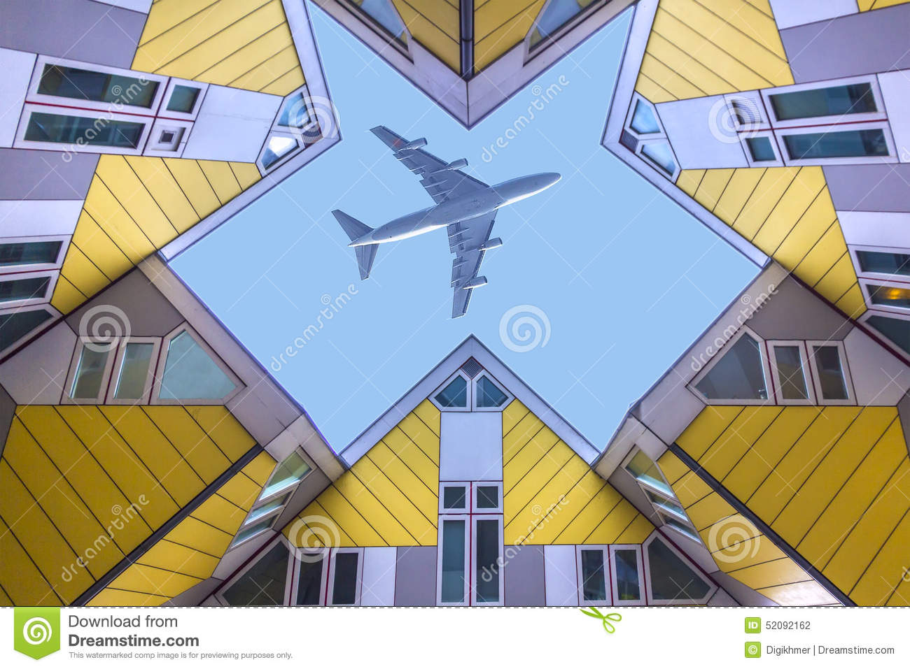 Plane flying over the cubic houses at rotterdam stock photo image 52092162 - The cubic home ...