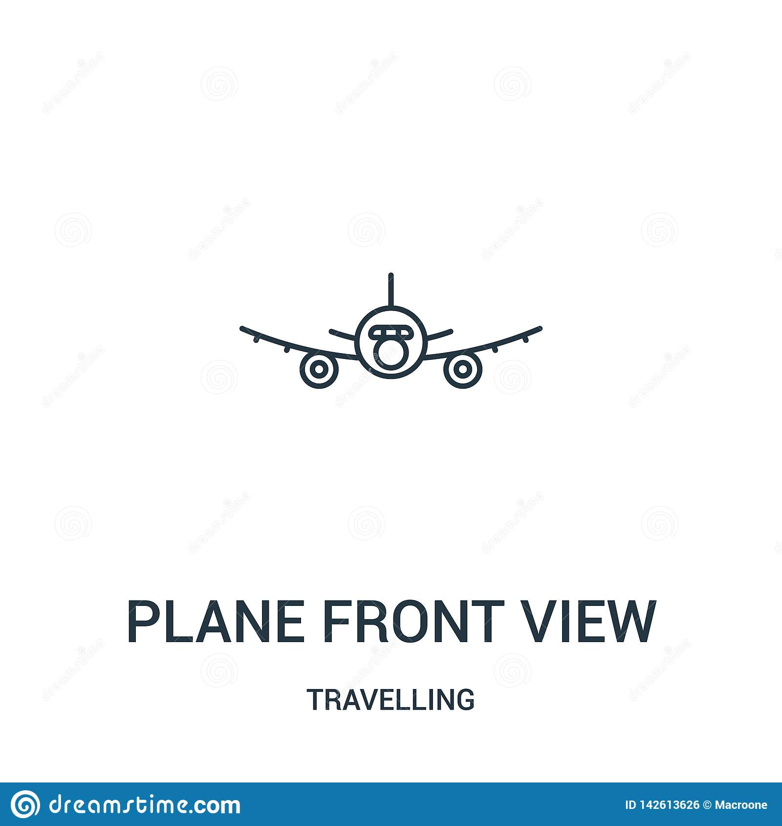 plane front view icon vector from travelling collection. Thin line plane front view outline icon vector illustration. Linear