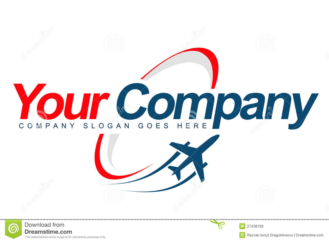 An illustration of a logo representing a plane taking off with trails ...