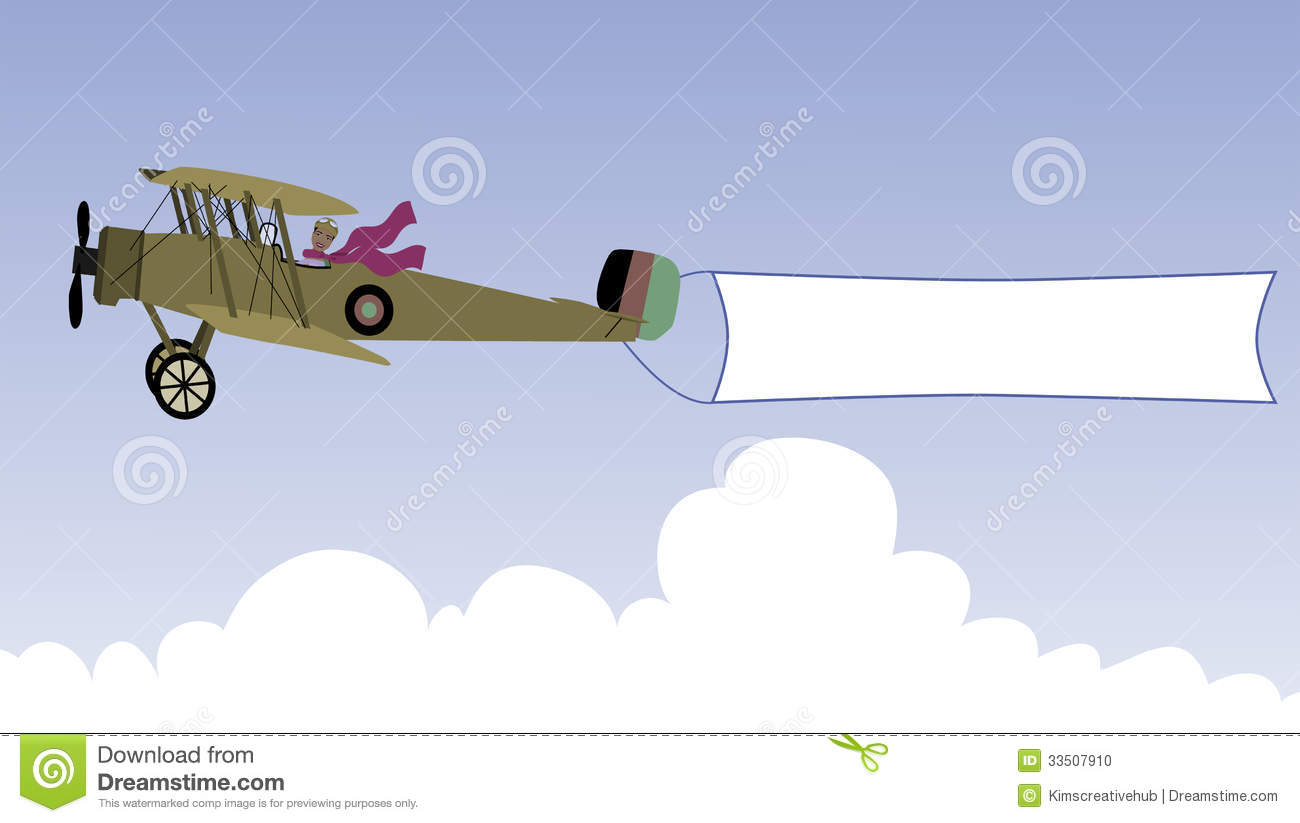 Plane With Message Banner Stock Photo - Image: 33507910