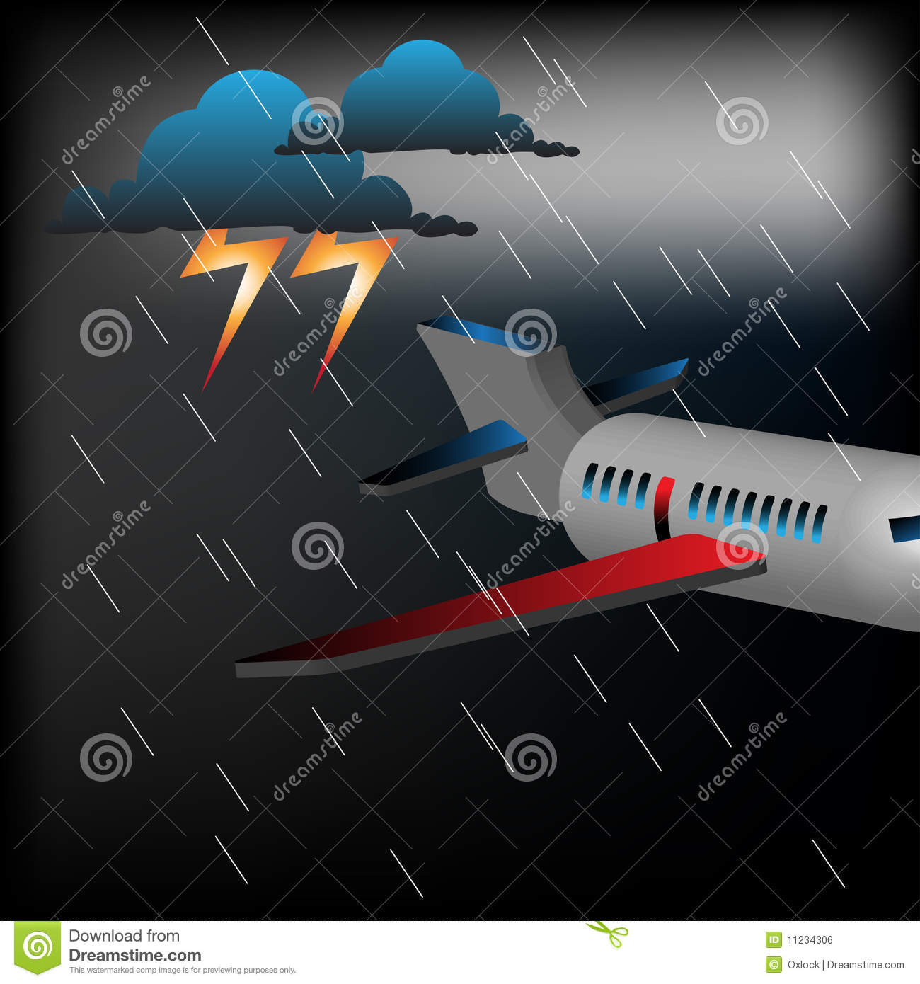 Plane In A Stormy Weather Royalty Free Stock Image Image