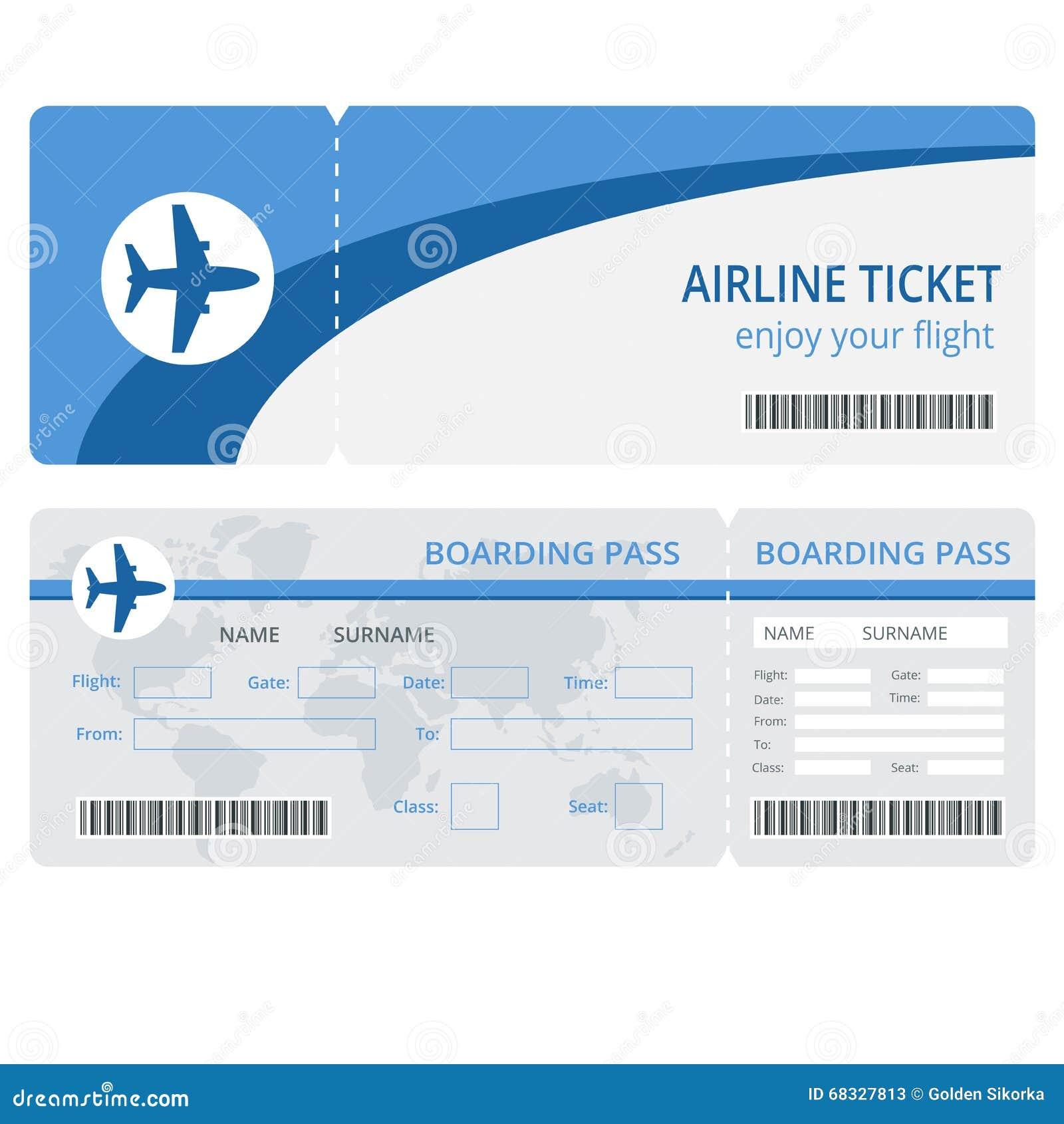 Plane Ticket Design. Plane Ticket Vector. Blank Plane ...