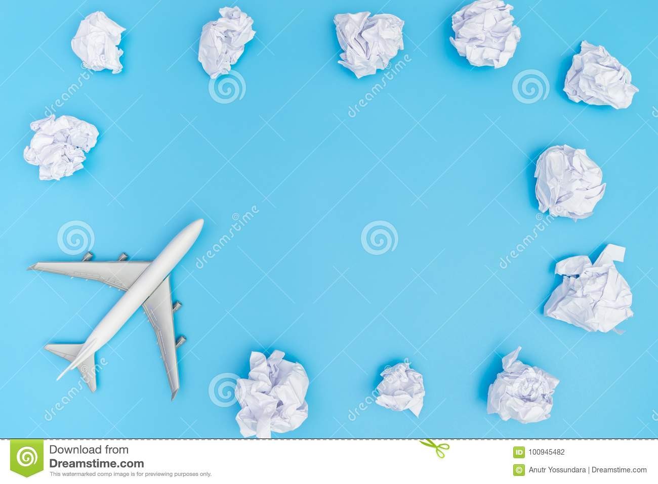 Plane Travel On Blue Sky Paper Cloud Frame Stock Photo - Image of ...