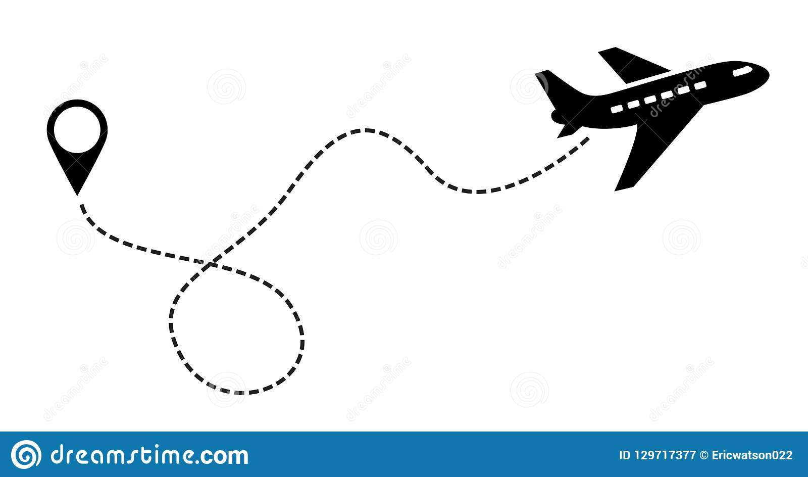 Plane Vector Icon black. Label Symbol for the Map, Aircraft. Editable stroke illustration.