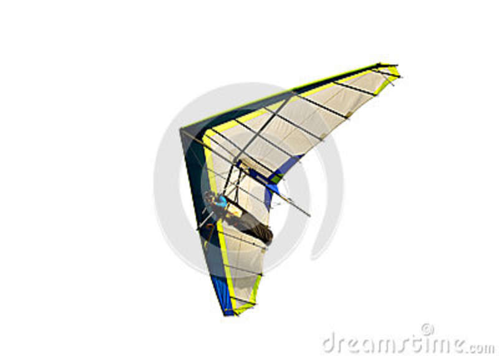 Planeador de caída azul y blanco en vuelo apagado, aislado en blanco