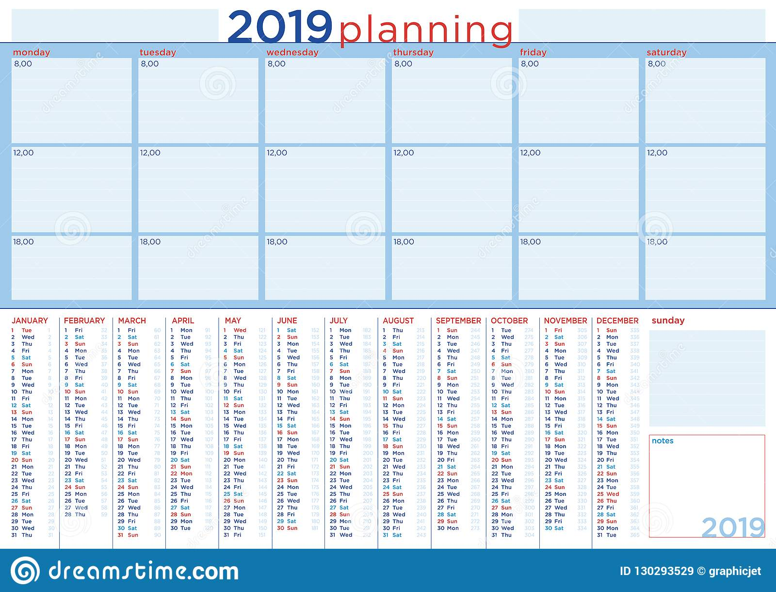 Calendario Diario 2019.Planeamiento 2019 Con El Calendario Y El Horario Diario