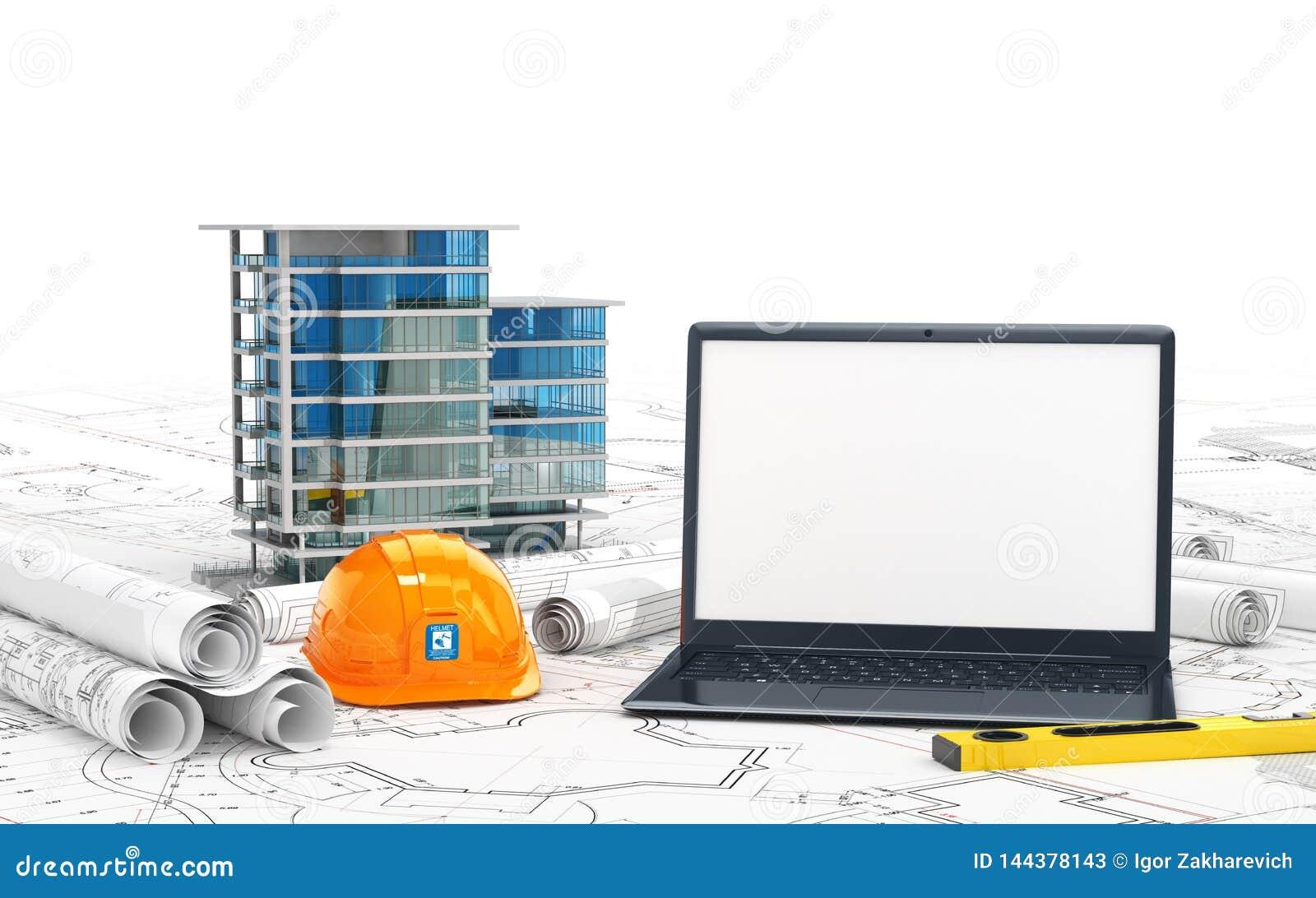 Planeamiento de la casa, de los proyectos de dibujo, de un casco y de un ordenador portátil abierto con una pantalla en blanco