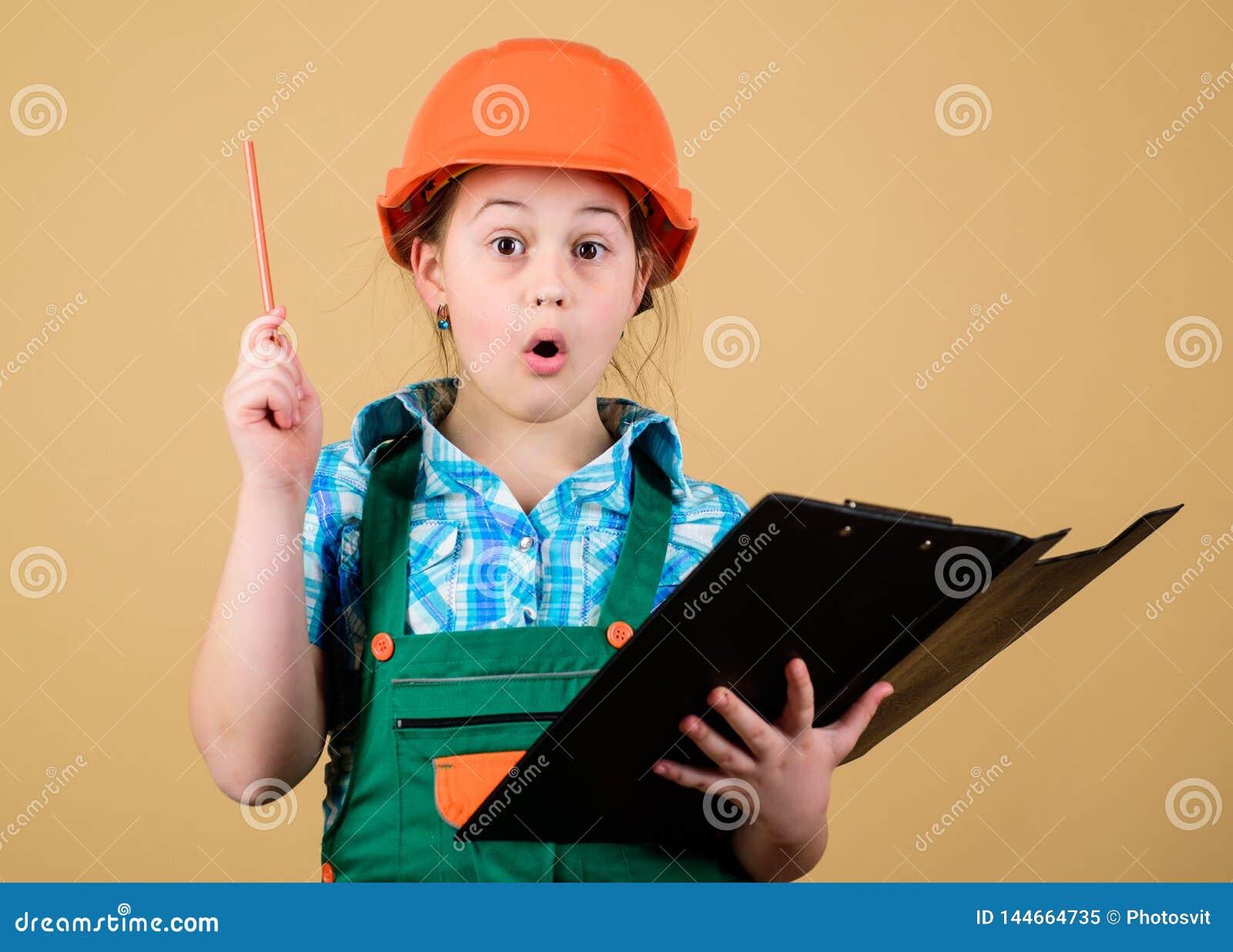 Planeamiento del capataz Arquitecto del ingeniero del constructor Profesión futura Muchacha del constructor del niño Construya su