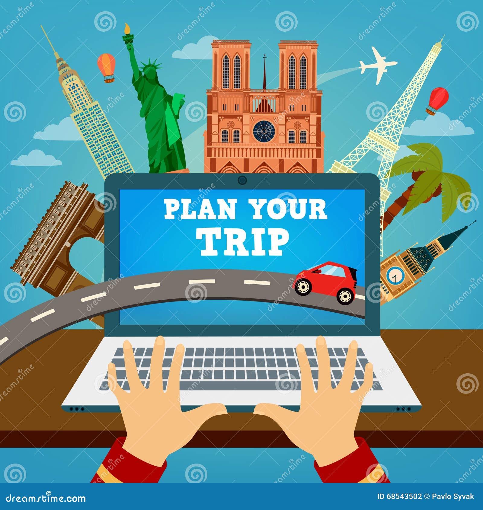 Planee su viaje bandera del viaje planeamiento de las vacaciones ilustraci n del vector - Banera de viaje ...