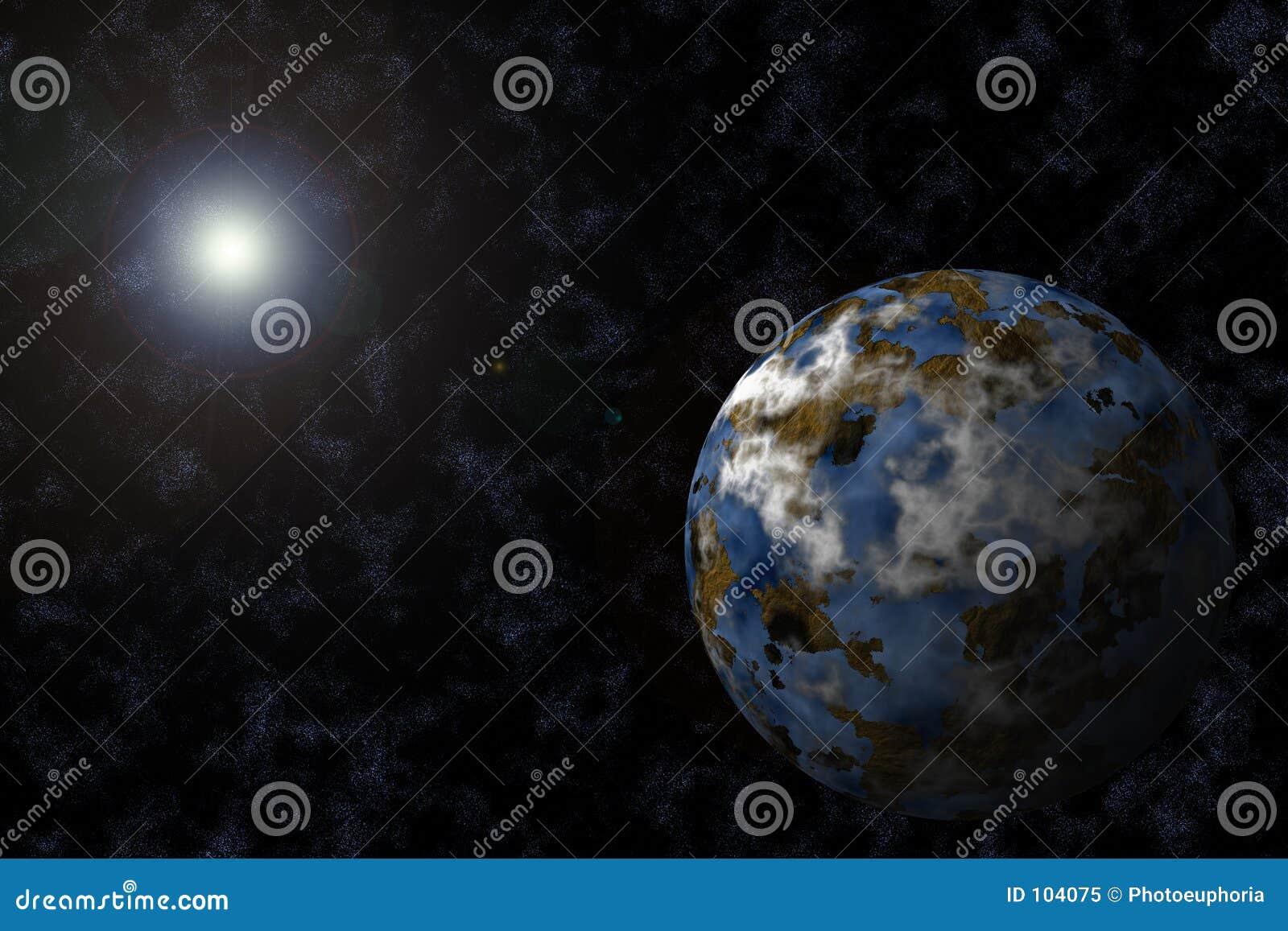Planeet met Starfield en Gloed