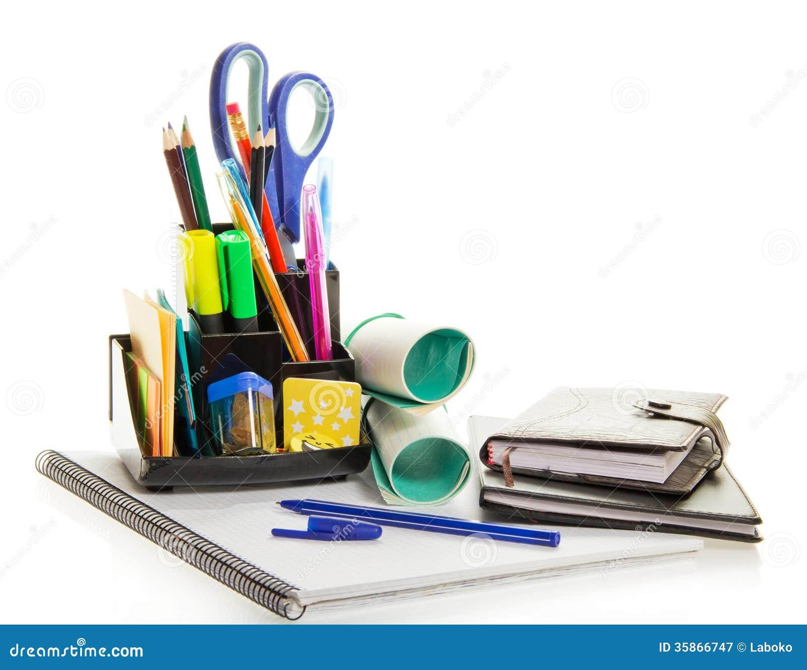 Planejador diário, livro de exercício, material de escritório