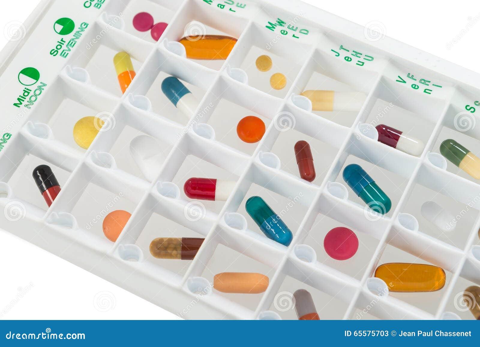Planejador mensal dos comprimidos com uma dose diária das medicamentações em cada pilha