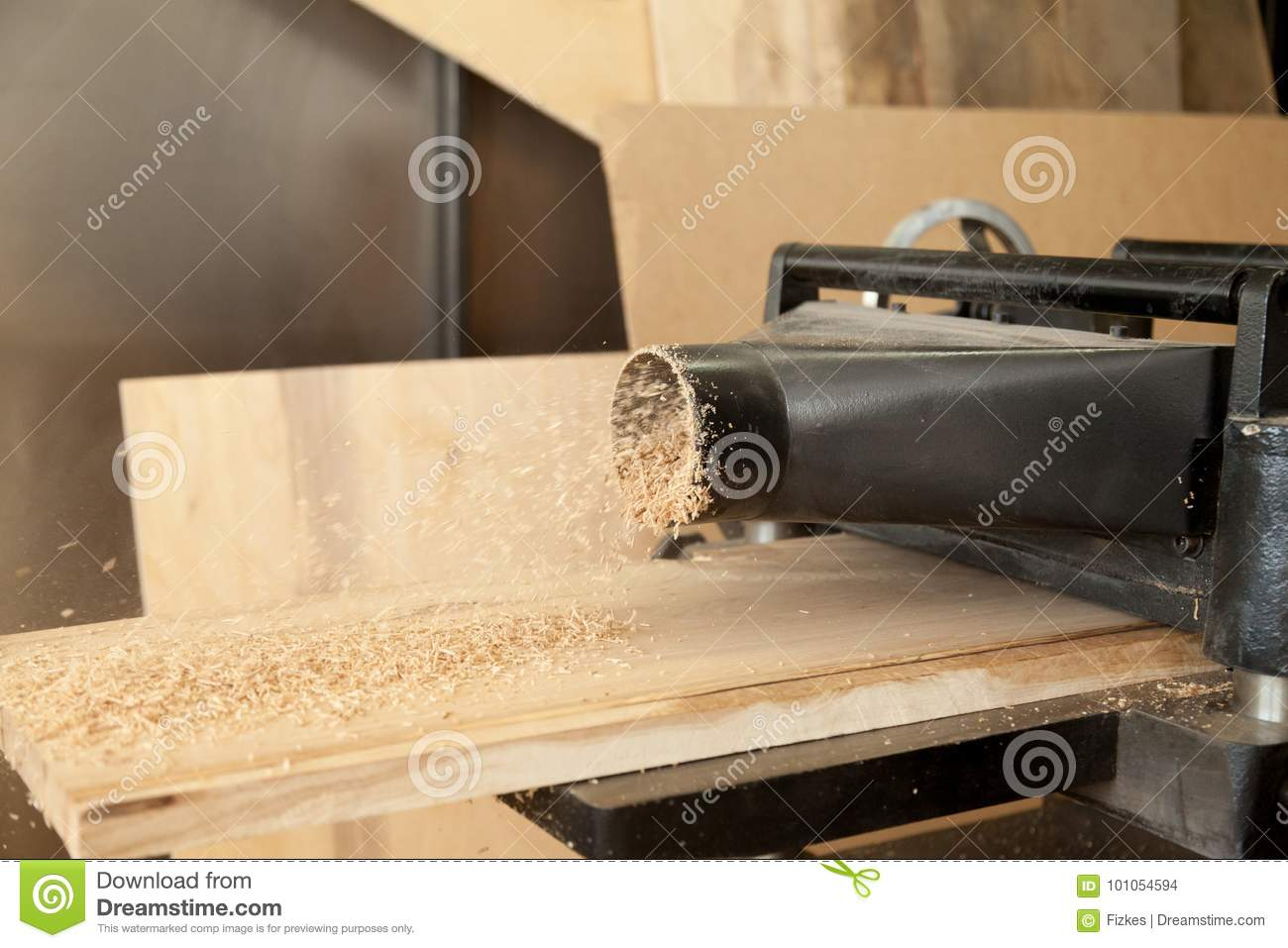 Planer Machine Reduce Wooden Board Thickness Stock Photo - Image of