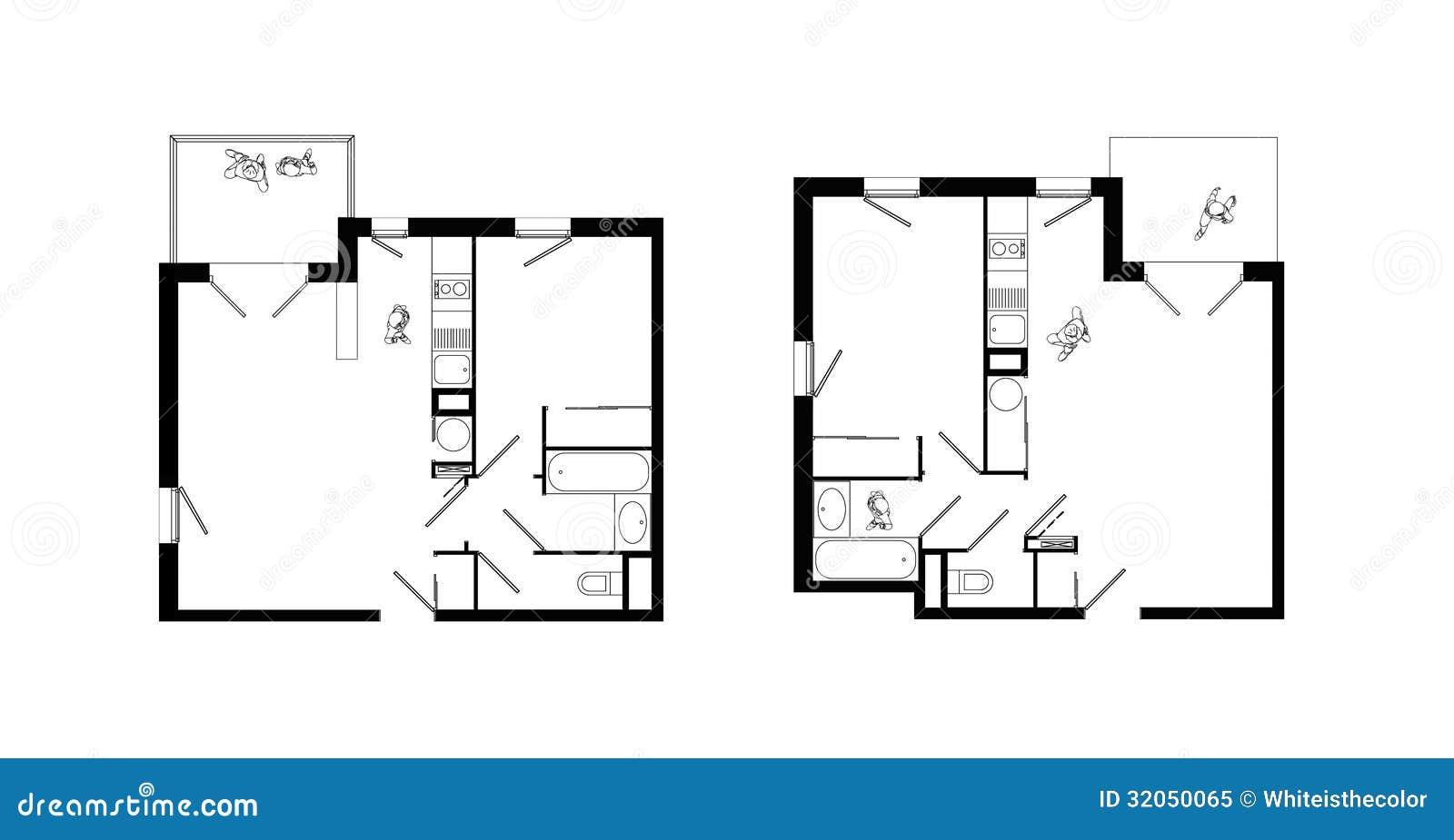 Planes Del Apartamento De Los Dos cuartos Fijados Foto