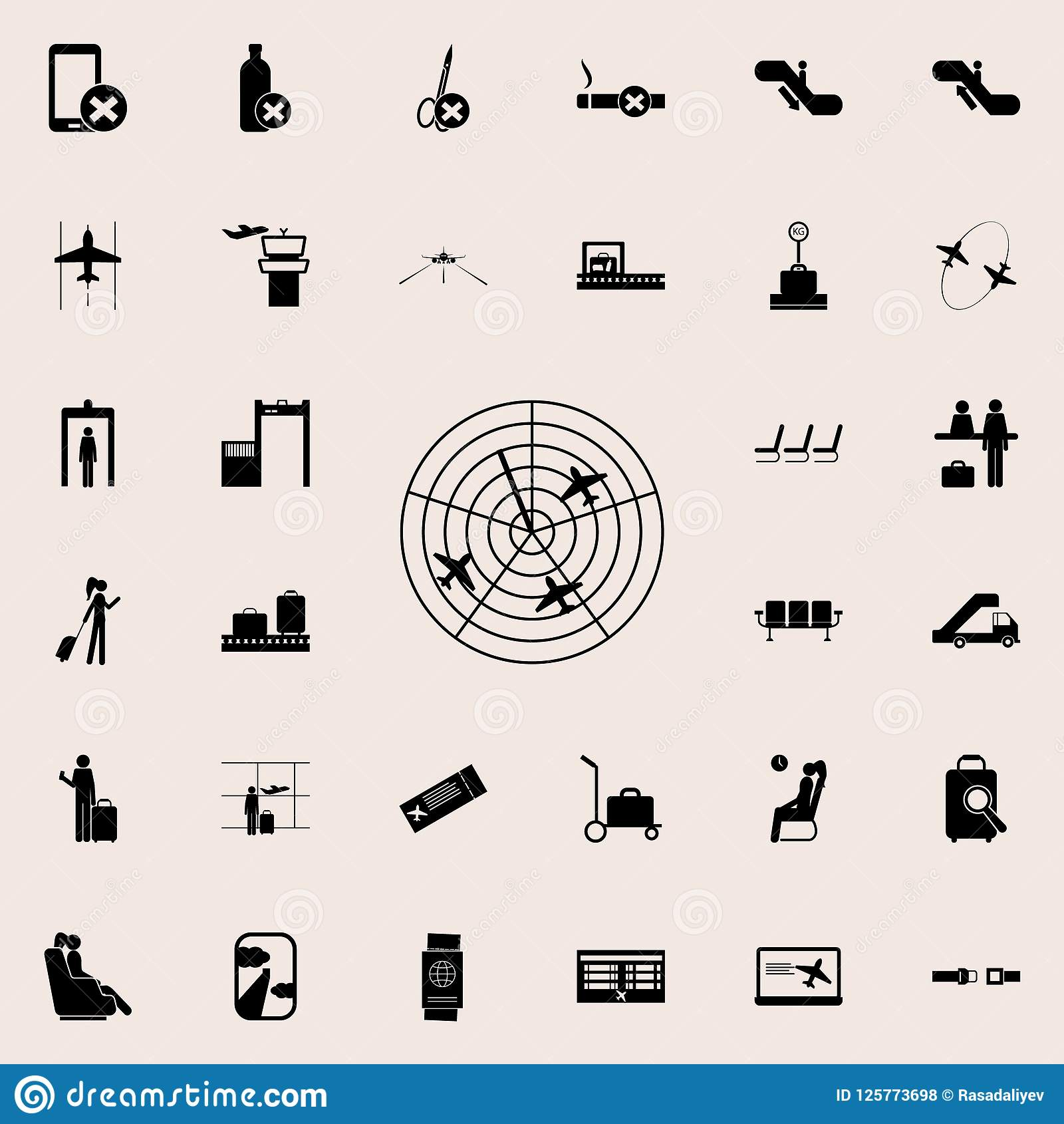 Planes On The Radar Icon Airport Icons Universal Set For Web And