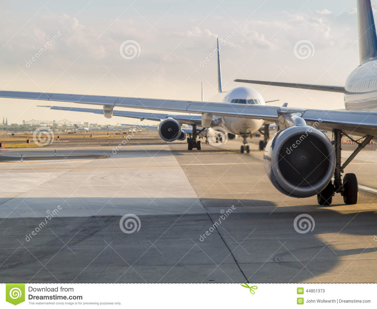 Planes waiting for takeoff