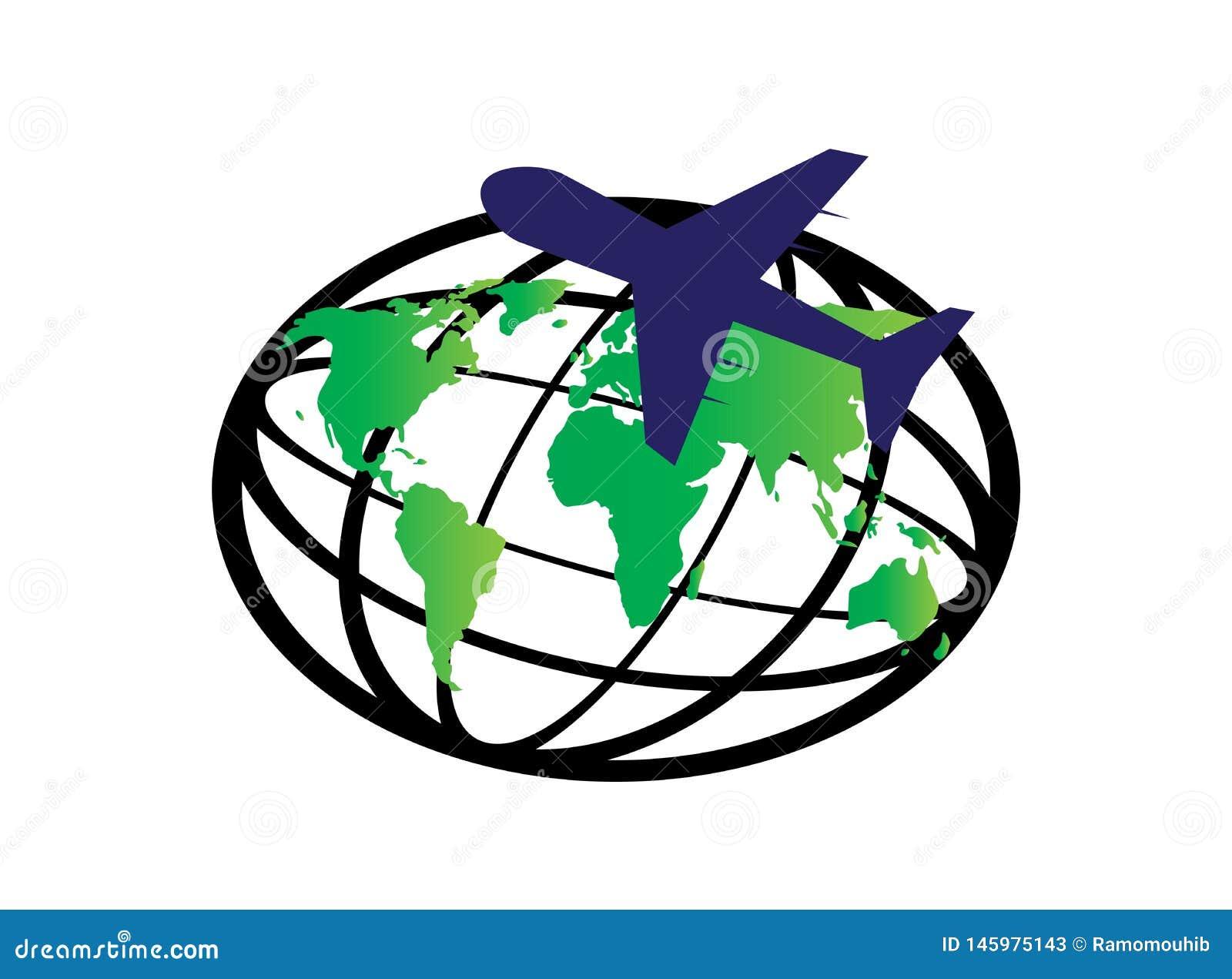 Planetöversikt och nivå runt om världen för logodesignvektorn, jordklotsymbol, loppsymbol