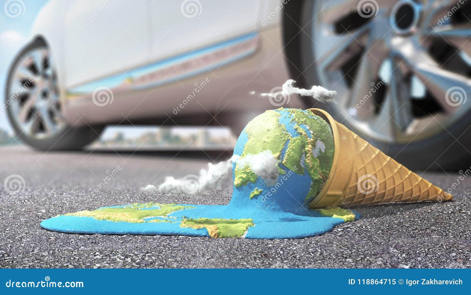 Planet als schmelzende Eiscreme unter heißer Sonne