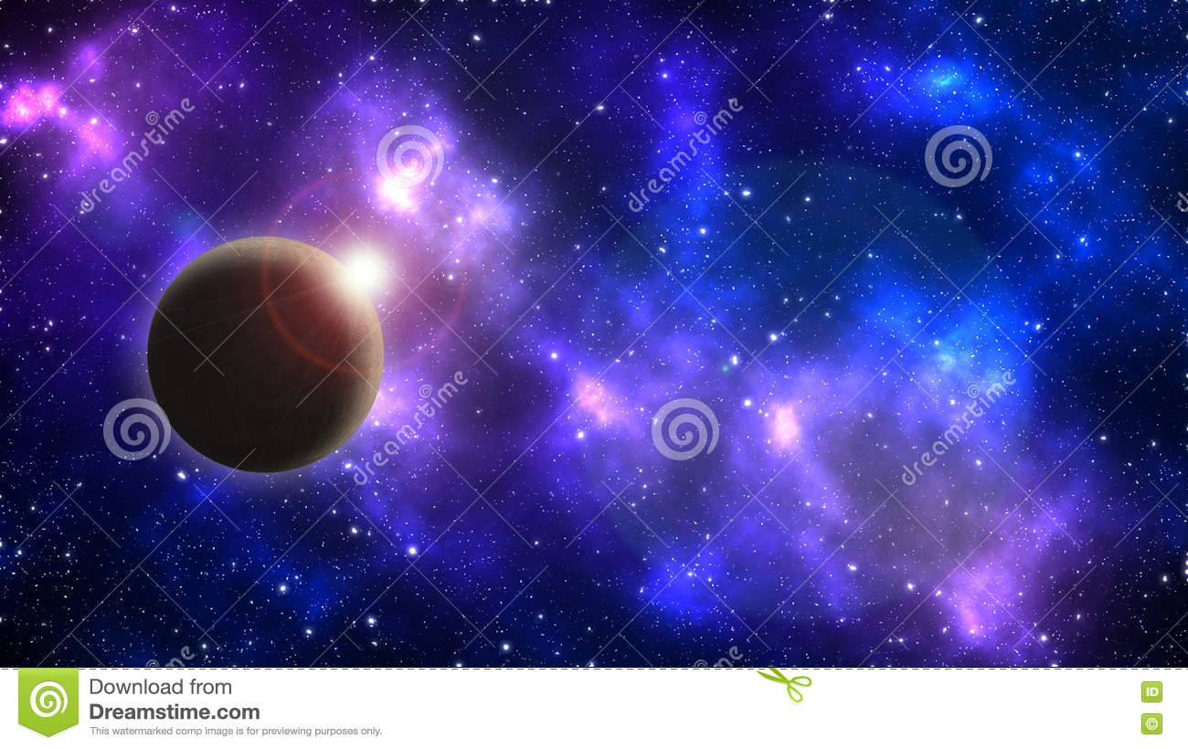Planet on a background of stars and galaxies