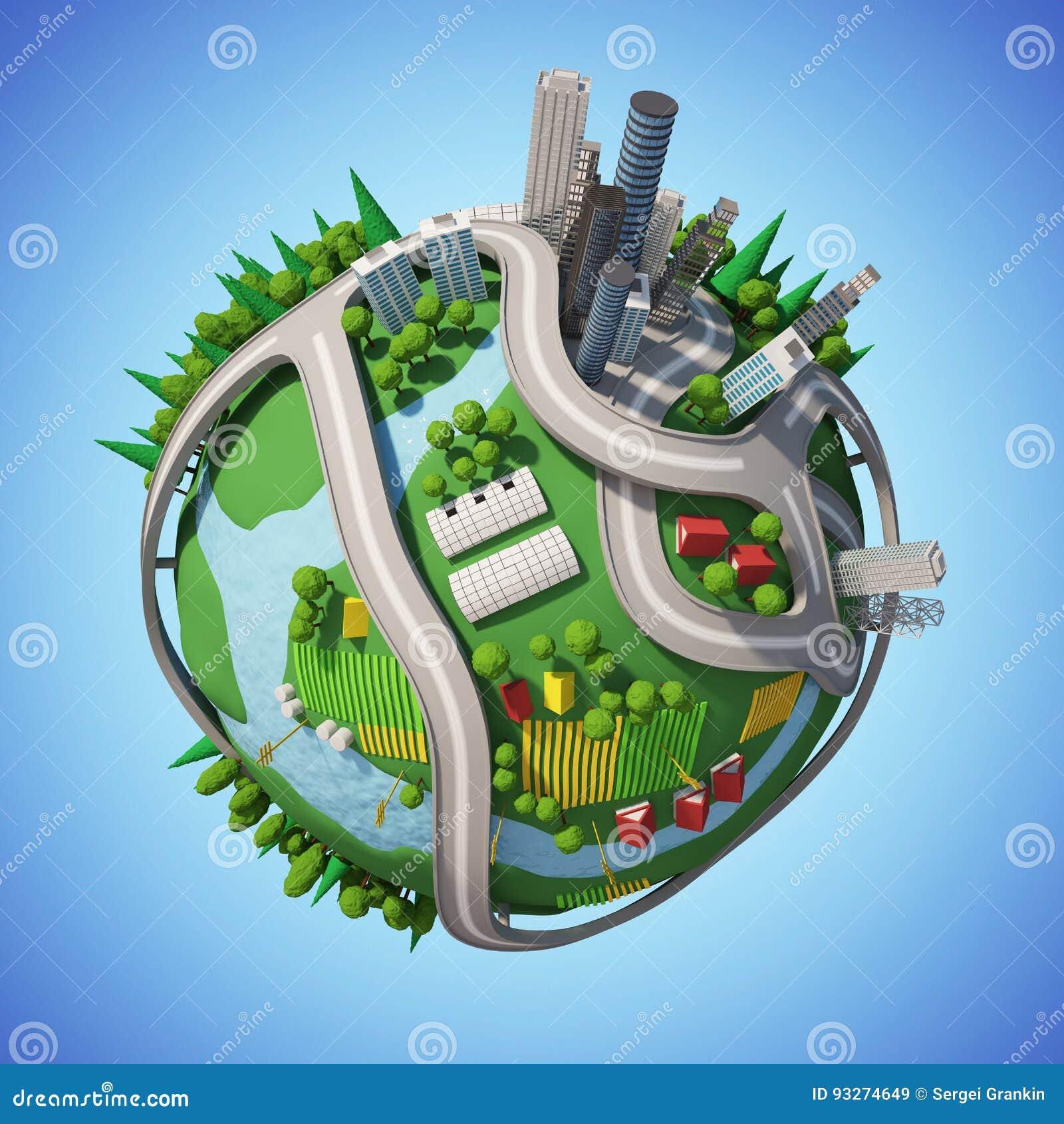 Planet 3D City stock illustration  Illustration of earth - 93274649