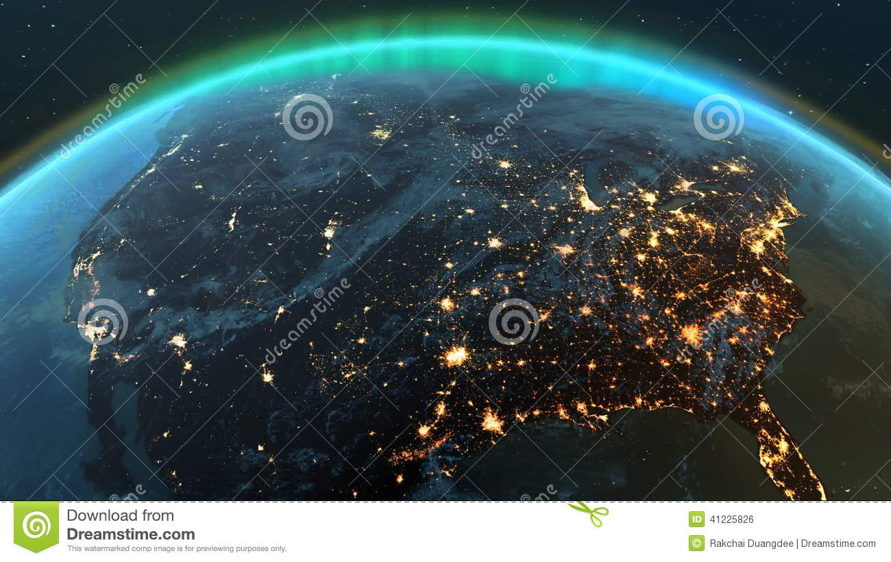 Planet Earth America Zone With Night Time And Sunrise Stock - Detailed satellite imagery